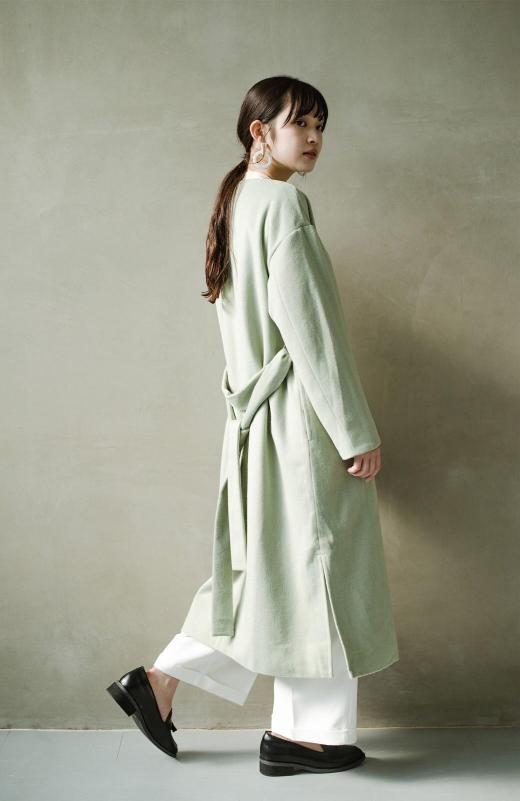haco! 冬の地味コーデ脱出! さっと羽織って女っぽいきれい色ガウンコート <ミント>の商品写真18