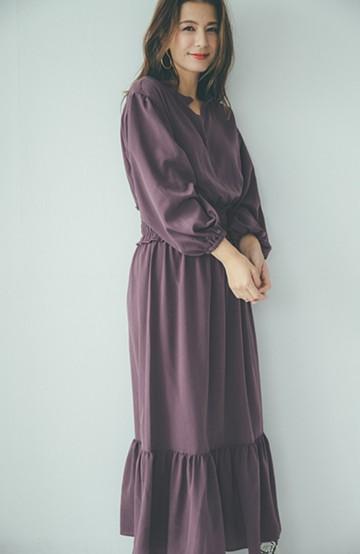 haco! 【スザンヌさんコラボ】大人の華やかさを詰め込んだ ウエストシャーリングのスタイルアップワンピース by LOVE&PEACE PROJECT <ダークブラウン>の商品写真