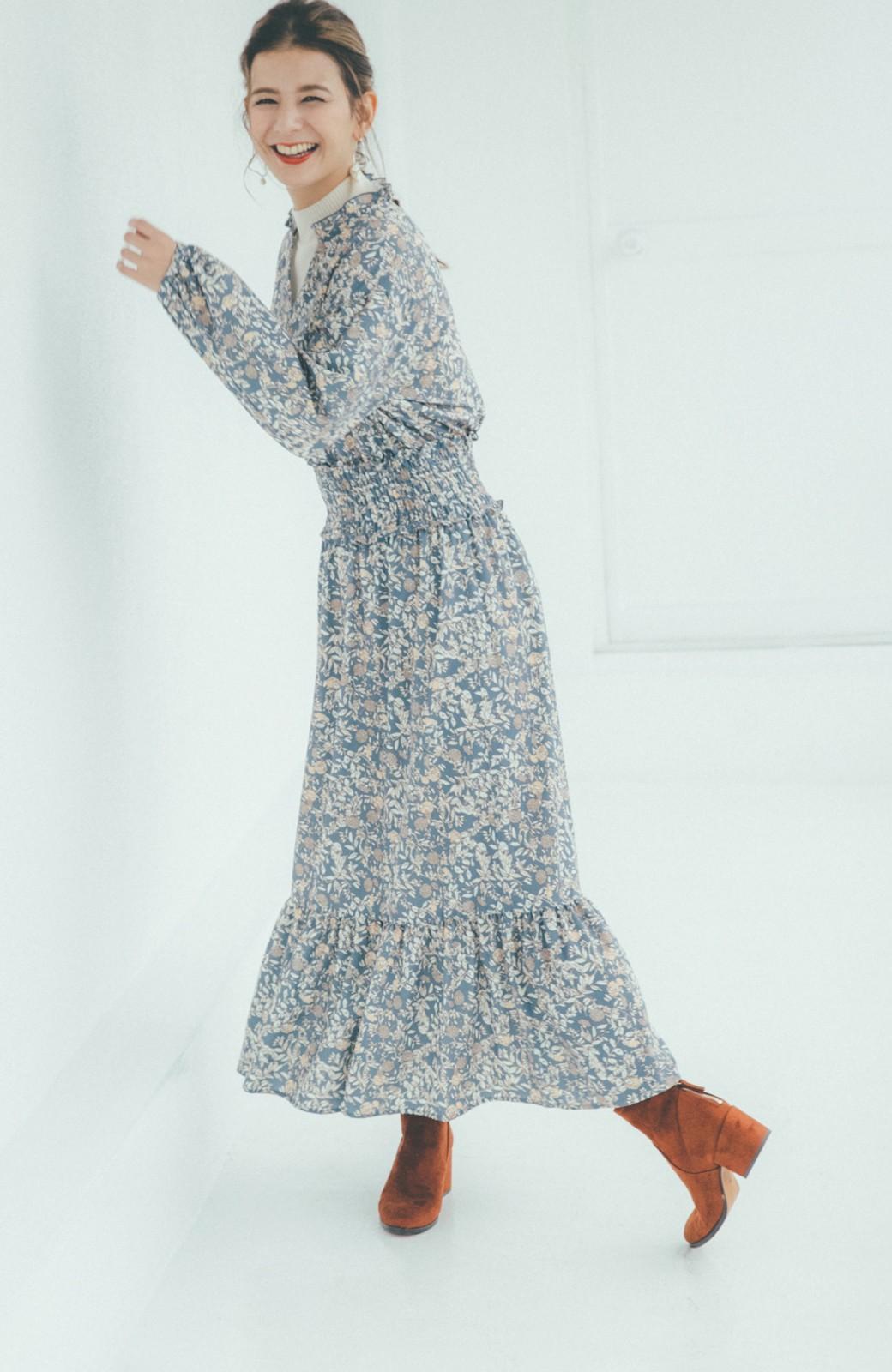 haco! 【スザンヌさんコラボ】大人の華やかさを詰め込んだ ウエストシャーリングのスタイルアップワンピース by LOVE&PEACE PROJECT <ブルー>の商品写真12
