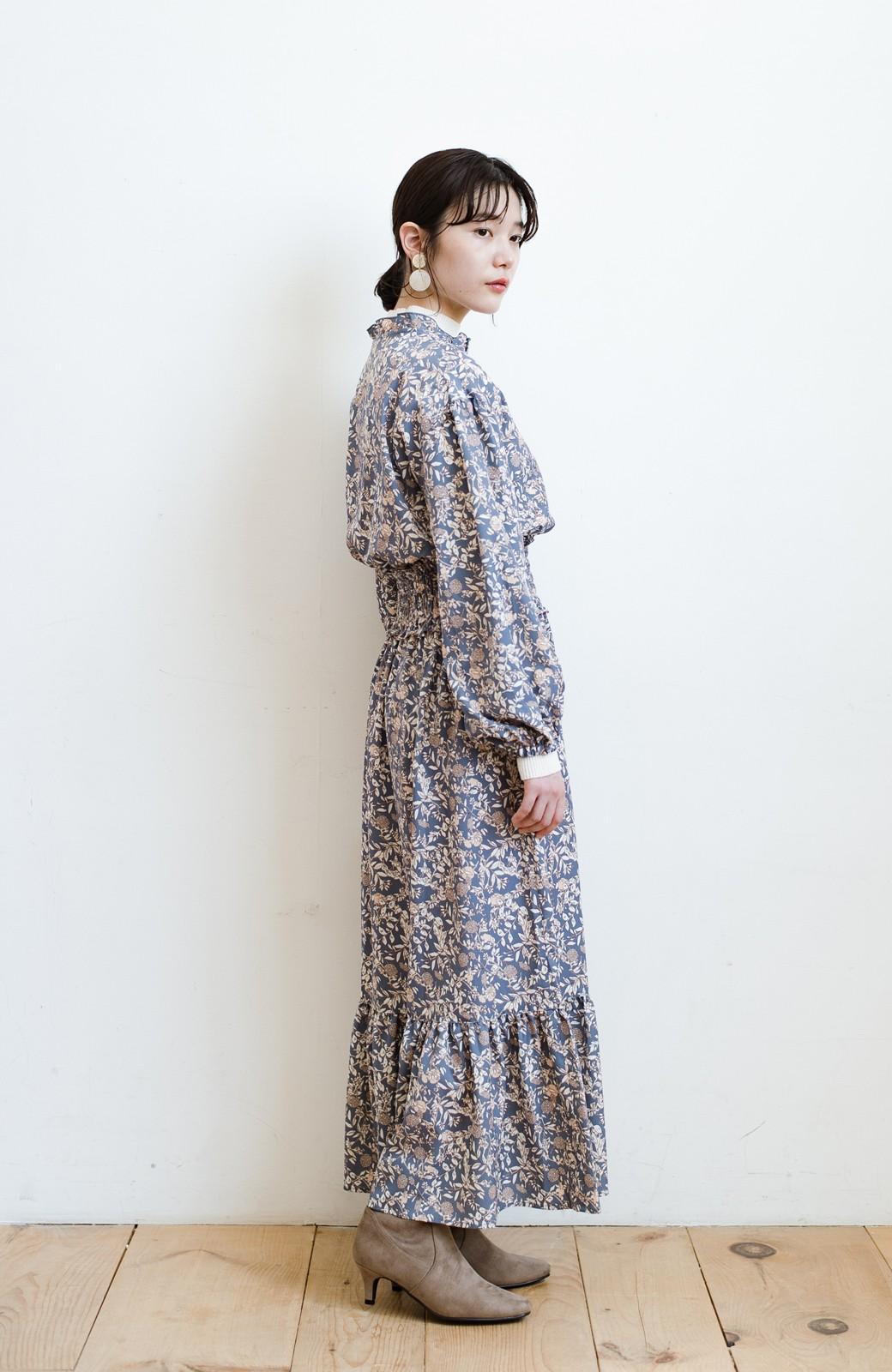 haco! 【スザンヌさんコラボ】大人の華やかさを詰め込んだ ウエストシャーリングのスタイルアップワンピース by LOVE&PEACE PROJECT <ブルー>の商品写真20