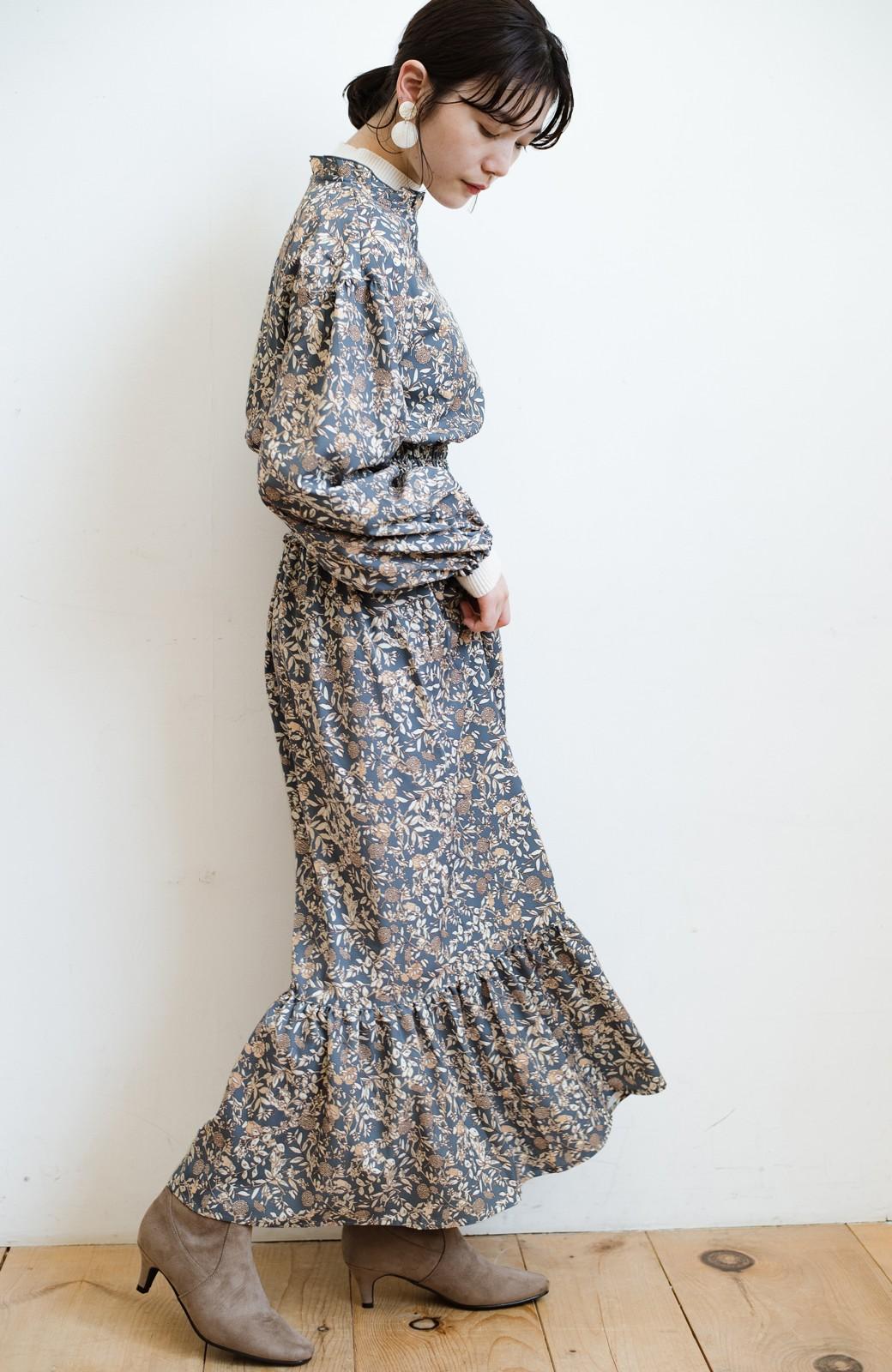 haco! 【スザンヌさんコラボ】大人の華やかさを詰め込んだ ウエストシャーリングのスタイルアップワンピース by LOVE&PEACE PROJECT <ブルー>の商品写真23