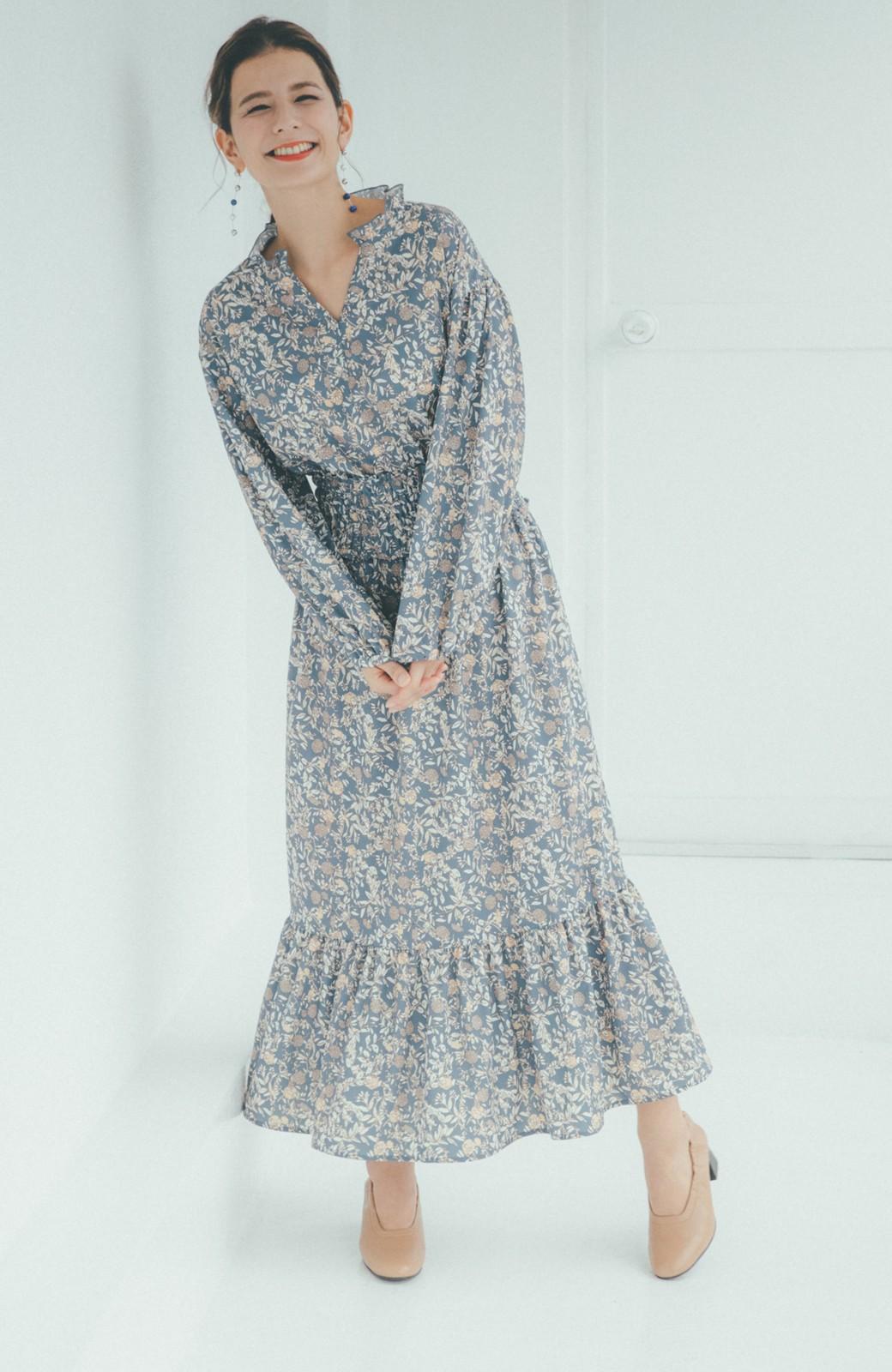 haco! 【スザンヌさんコラボ】大人の華やかさを詰め込んだ ウエストシャーリングのスタイルアップワンピース by LOVE&PEACE PROJECT <ブルー>の商品写真5