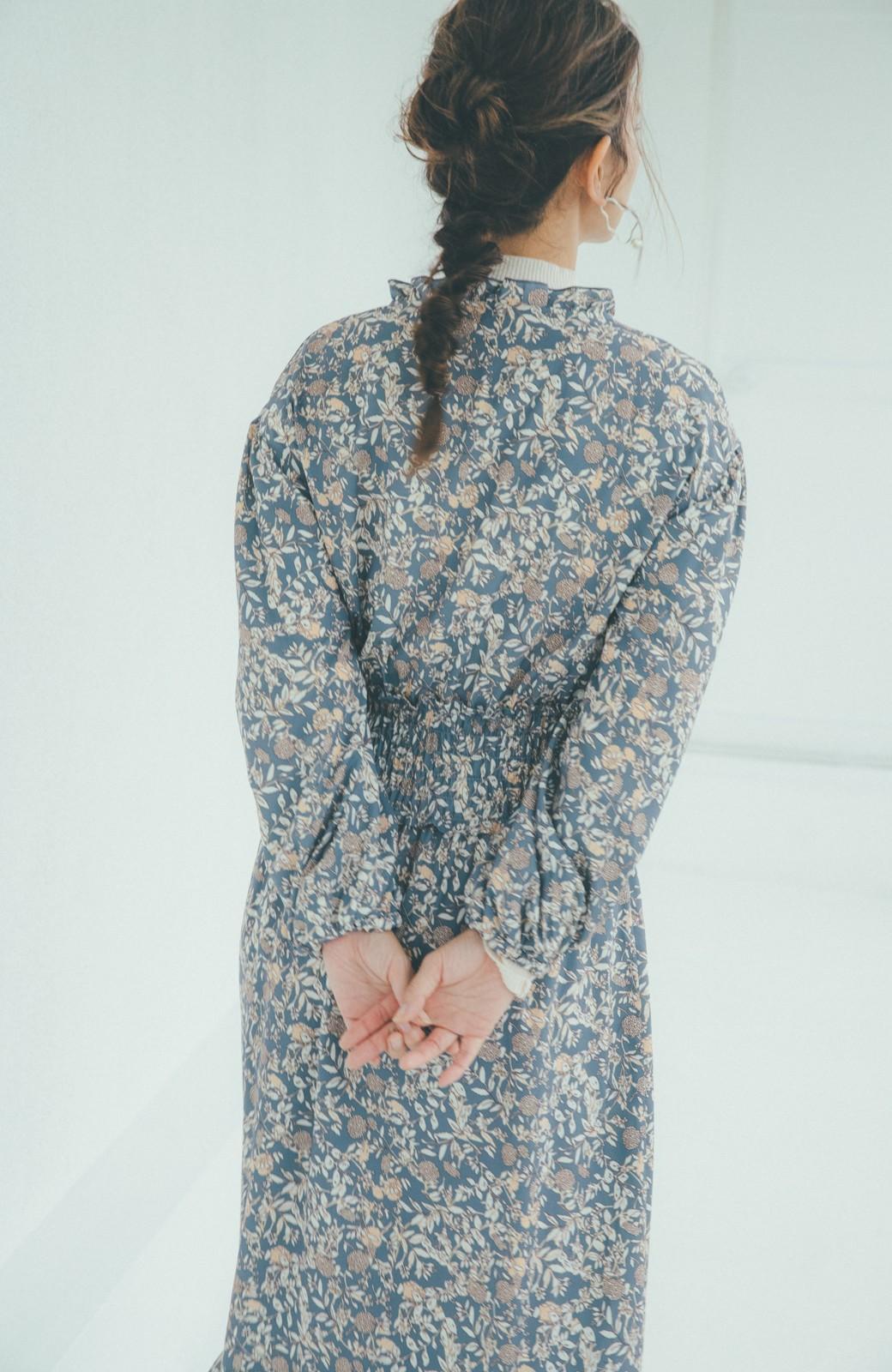 haco! 【スザンヌさんコラボ】大人の華やかさを詰め込んだ ウエストシャーリングのスタイルアップワンピース by LOVE&PEACE PROJECT <ブルー>の商品写真9