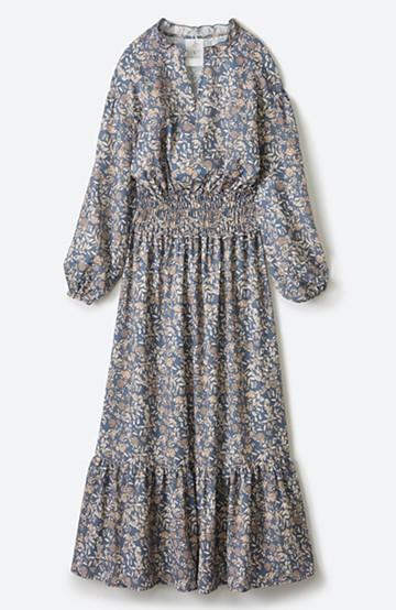 haco! 【スザンヌさんコラボ】大人の華やかさを詰め込んだ ウエストシャーリングのスタイルアップワンピース by LOVE&PEACE PROJECT <ブルー>の商品写真