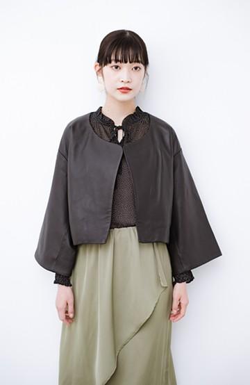 haco! BOLSISTA パッと羽織って大人かっこいいノーカラーレザージャケット <ブラック>の商品写真