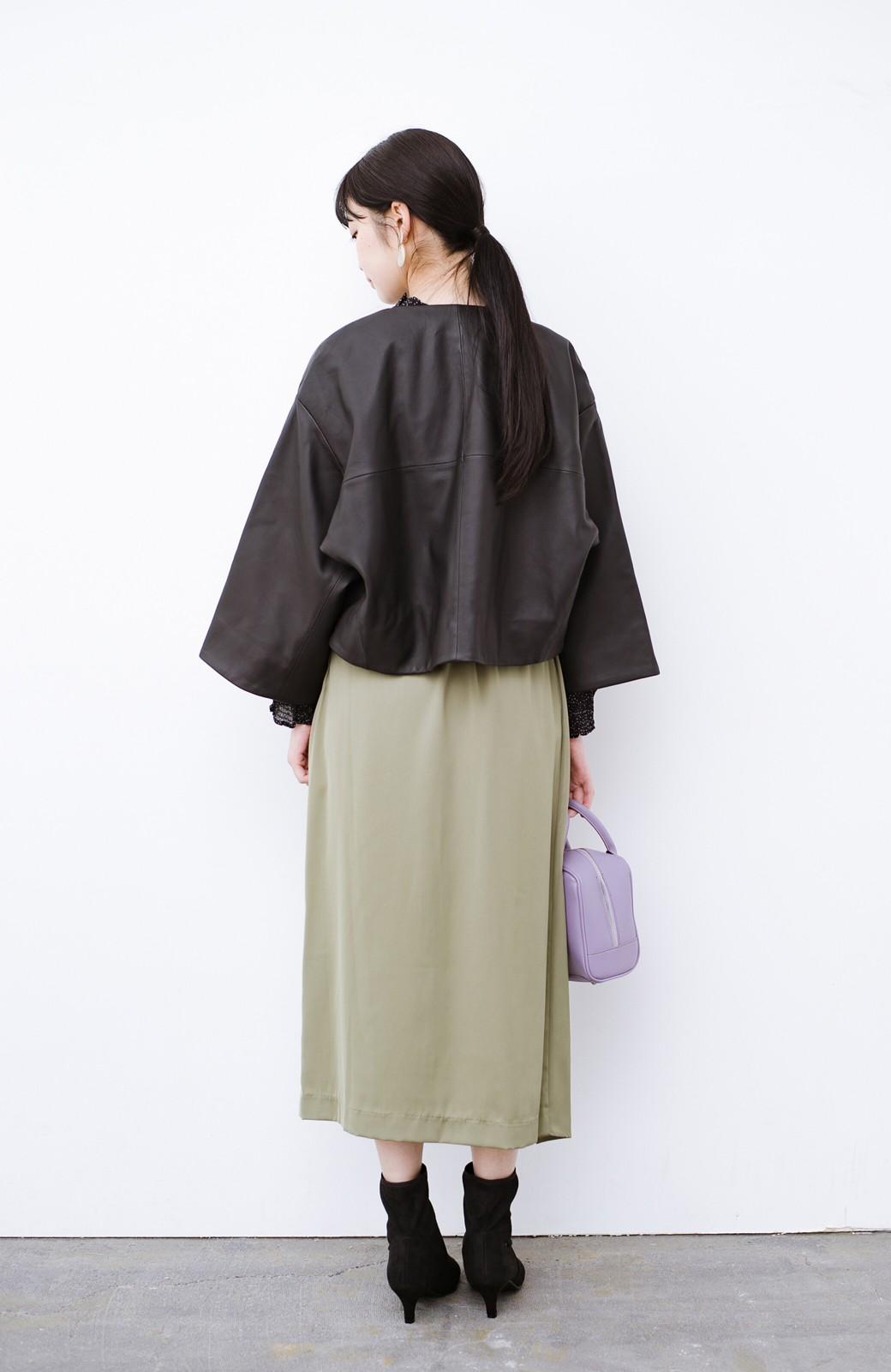 haco! BOLSISTA パッと羽織って大人かっこいいノーカラーレザージャケット <ブラック>の商品写真10