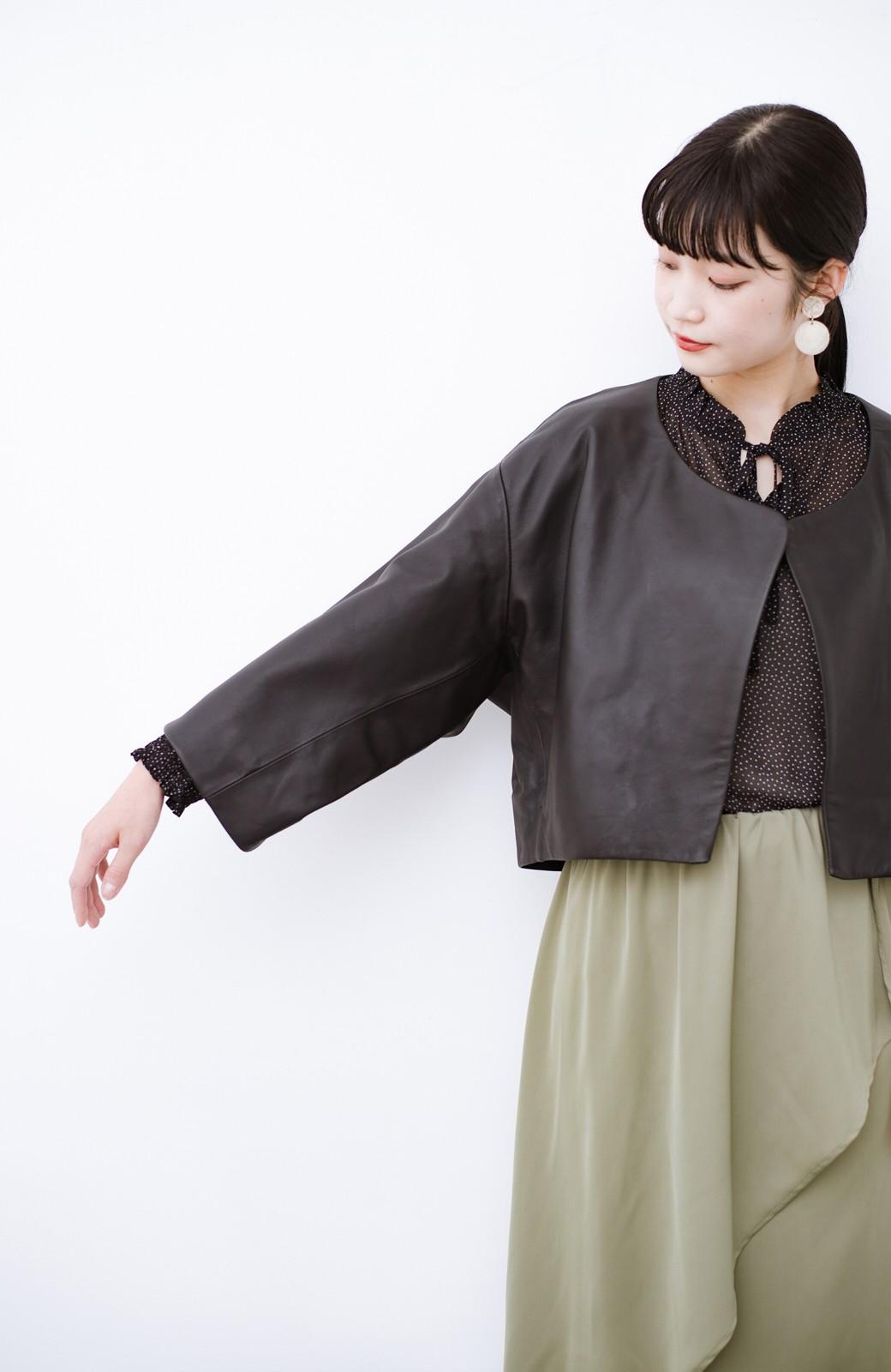 haco! BOLSISTA パッと羽織って大人かっこいいノーカラーレザージャケット <ブラック>の商品写真11