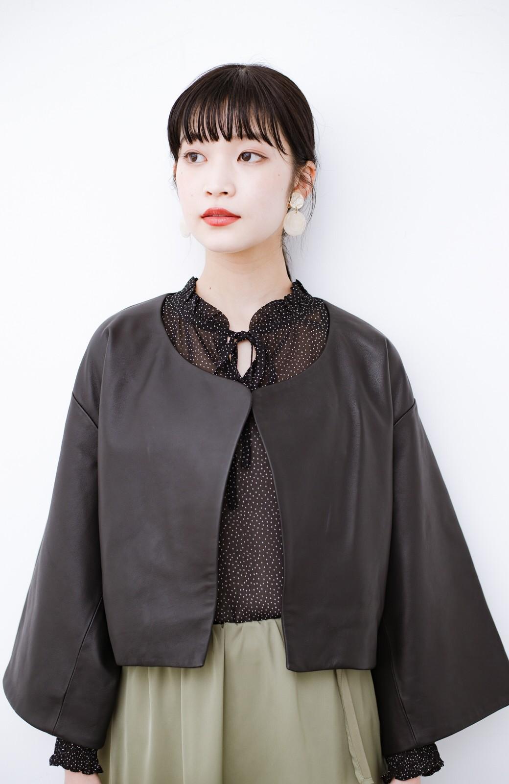 haco! BOLSISTA パッと羽織って大人かっこいいノーカラーレザージャケット <ブラック>の商品写真12