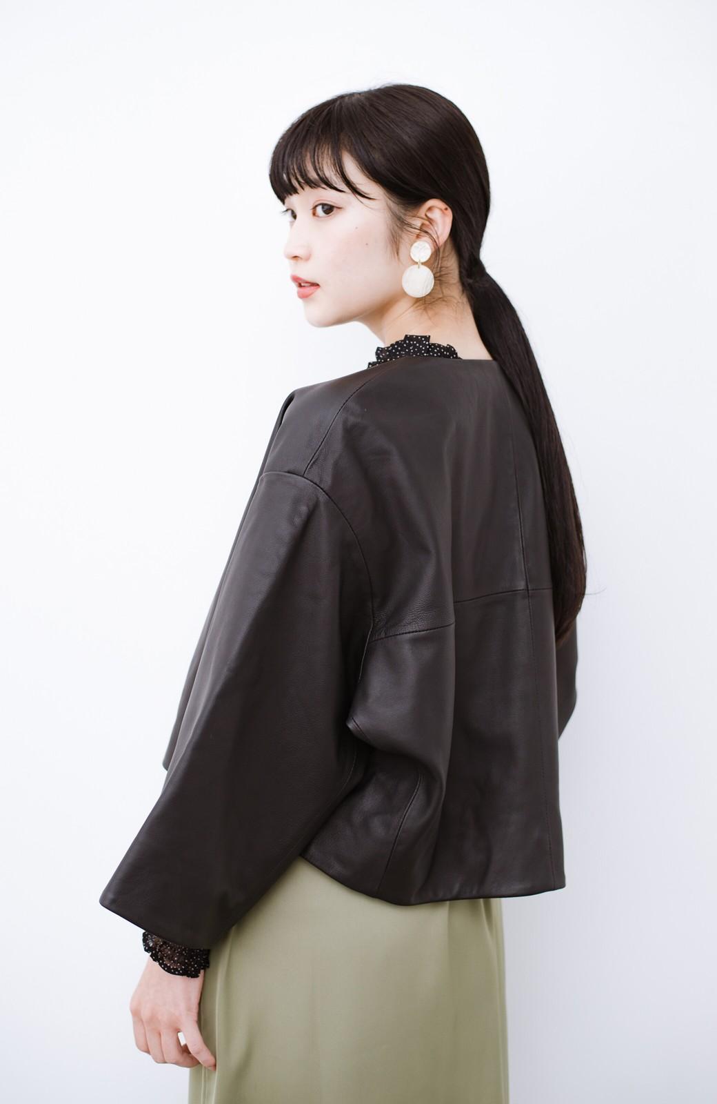 haco! BOLSISTA パッと羽織って大人かっこいいノーカラーレザージャケット <ブラック>の商品写真14