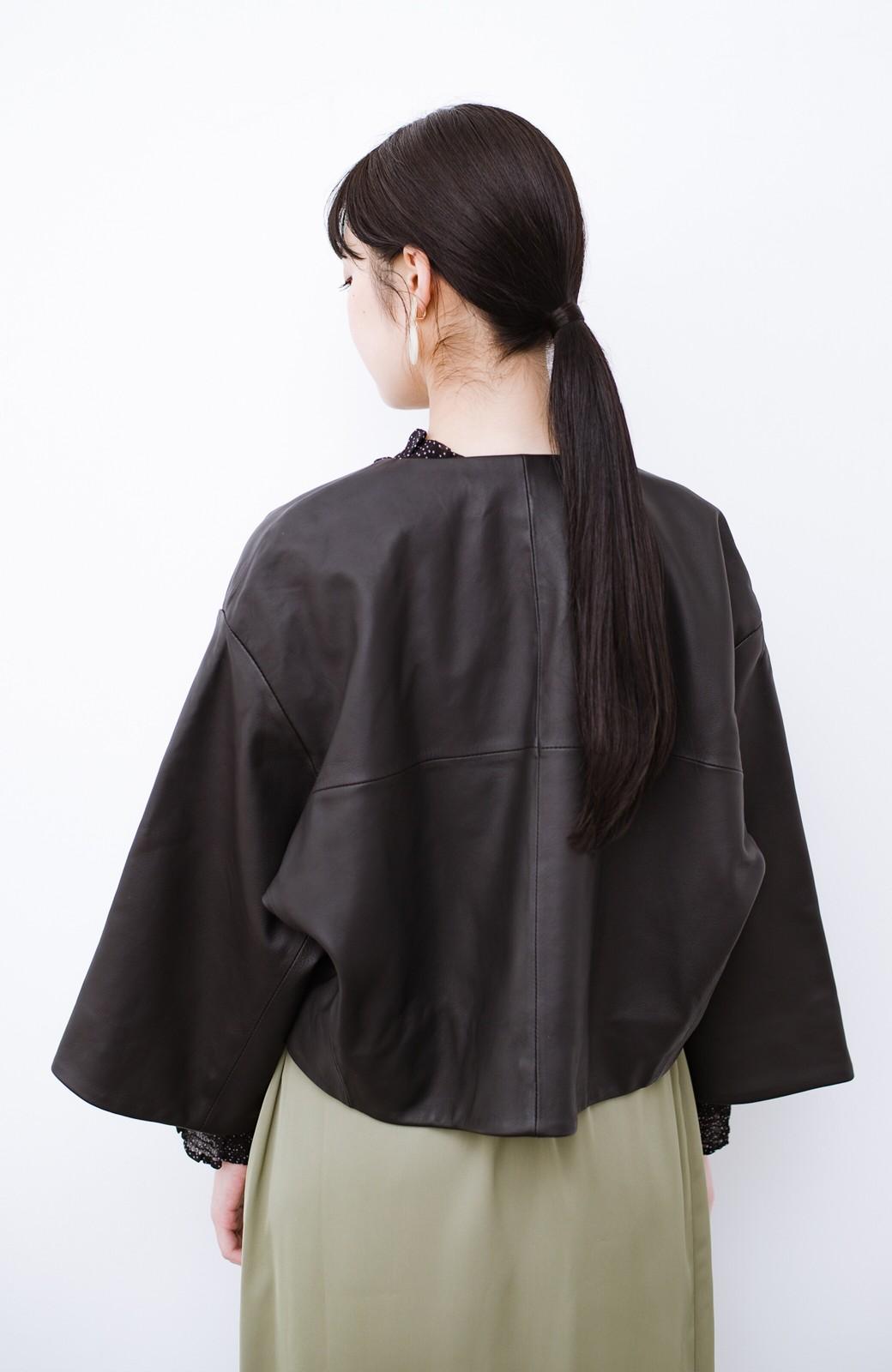 haco! BOLSISTA パッと羽織って大人かっこいいノーカラーレザージャケット <ブラック>の商品写真15