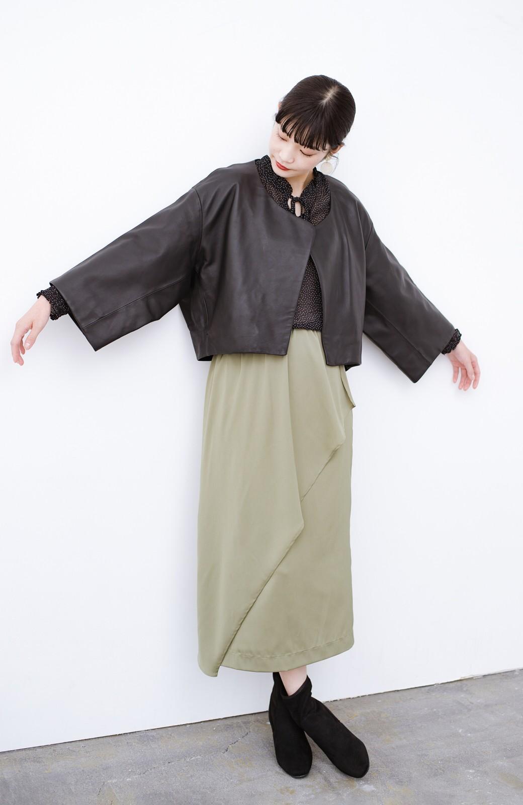 haco! BOLSISTA パッと羽織って大人かっこいいノーカラーレザージャケット <ブラック>の商品写真4