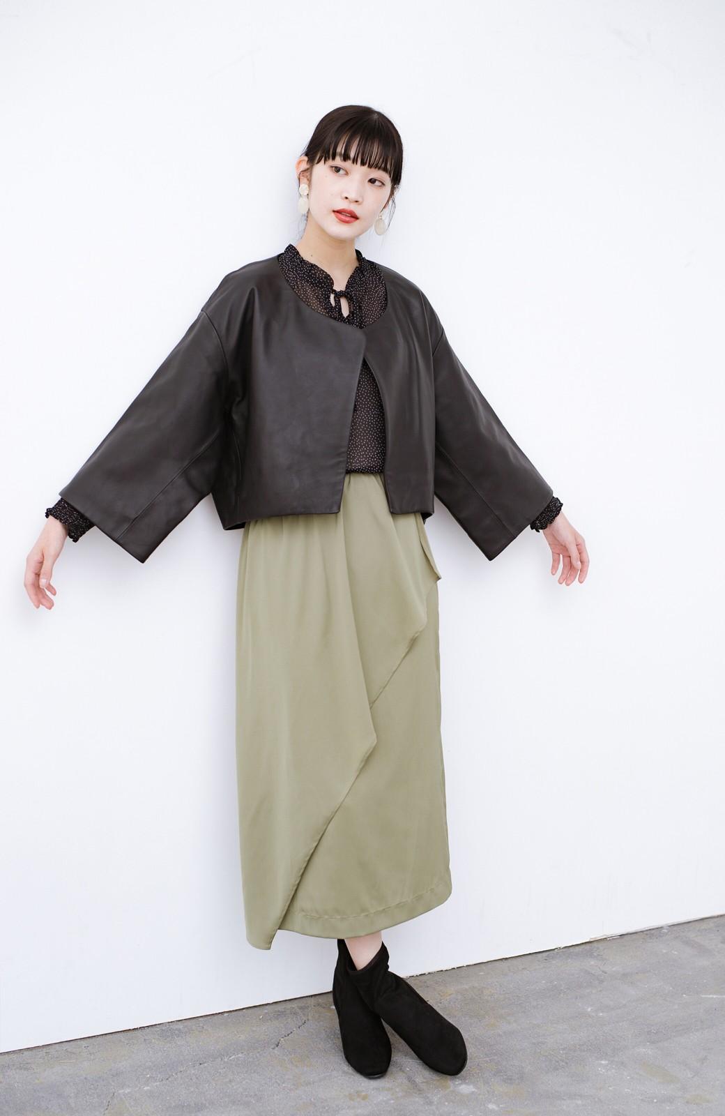haco! BOLSISTA パッと羽織って大人かっこいいノーカラーレザージャケット <ブラック>の商品写真5