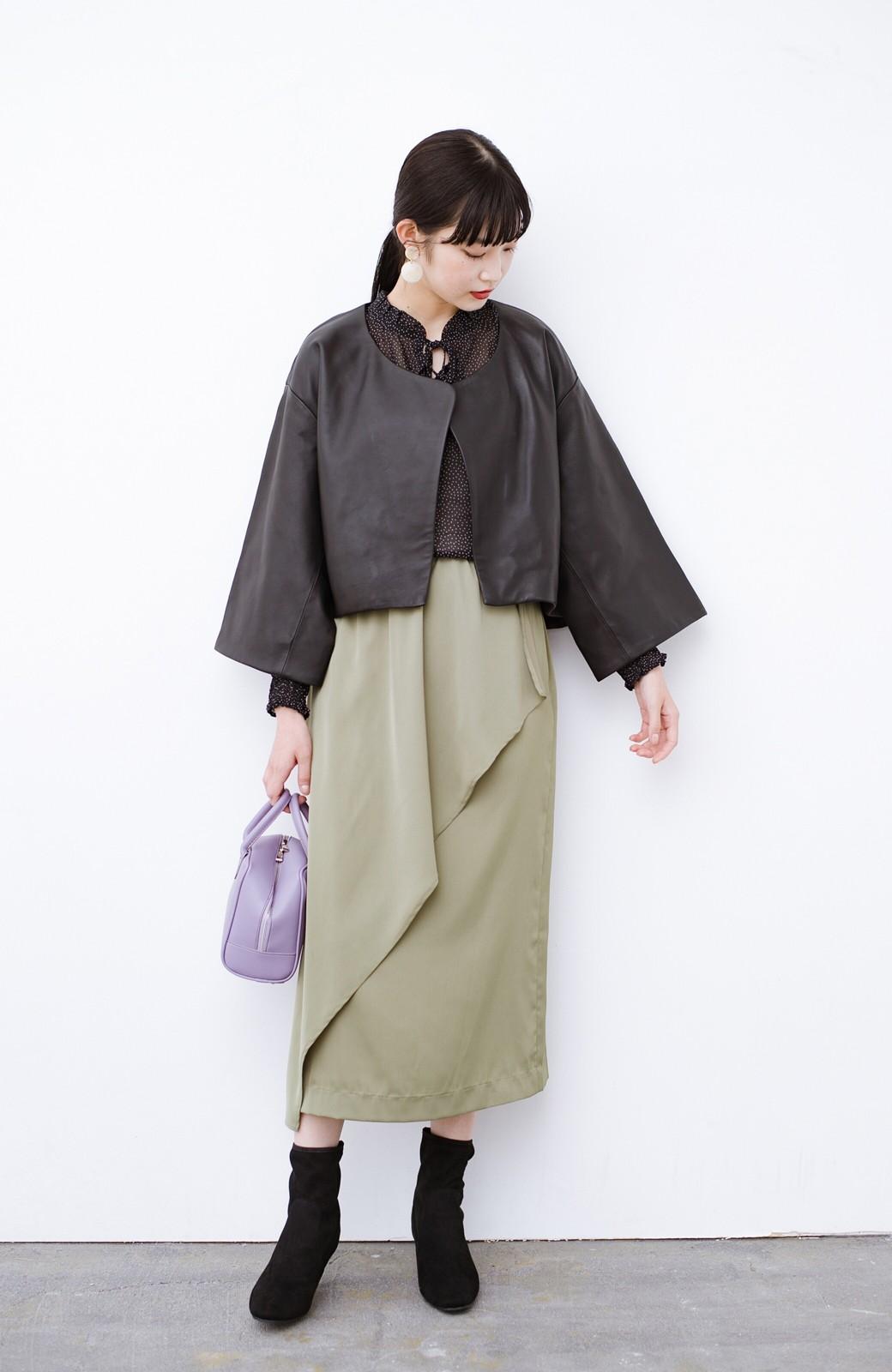 haco! BOLSISTA パッと羽織って大人かっこいいノーカラーレザージャケット <ブラック>の商品写真6