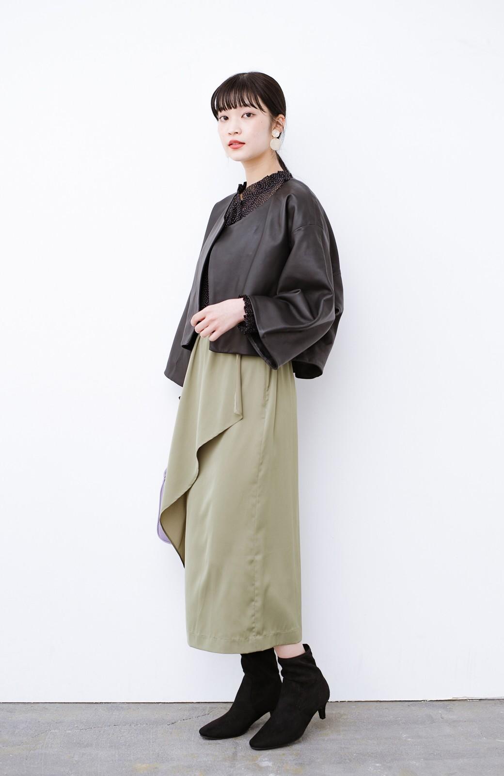 haco! BOLSISTA パッと羽織って大人かっこいいノーカラーレザージャケット <ブラック>の商品写真7