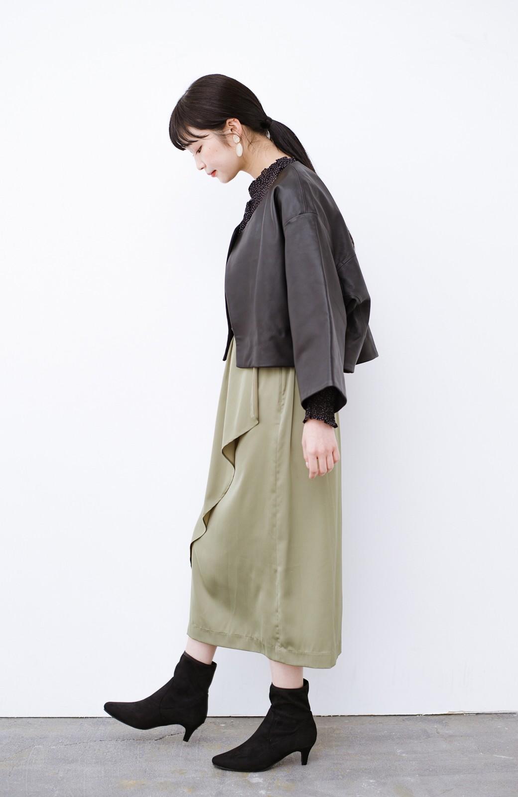 haco! BOLSISTA パッと羽織って大人かっこいいノーカラーレザージャケット <ブラック>の商品写真8