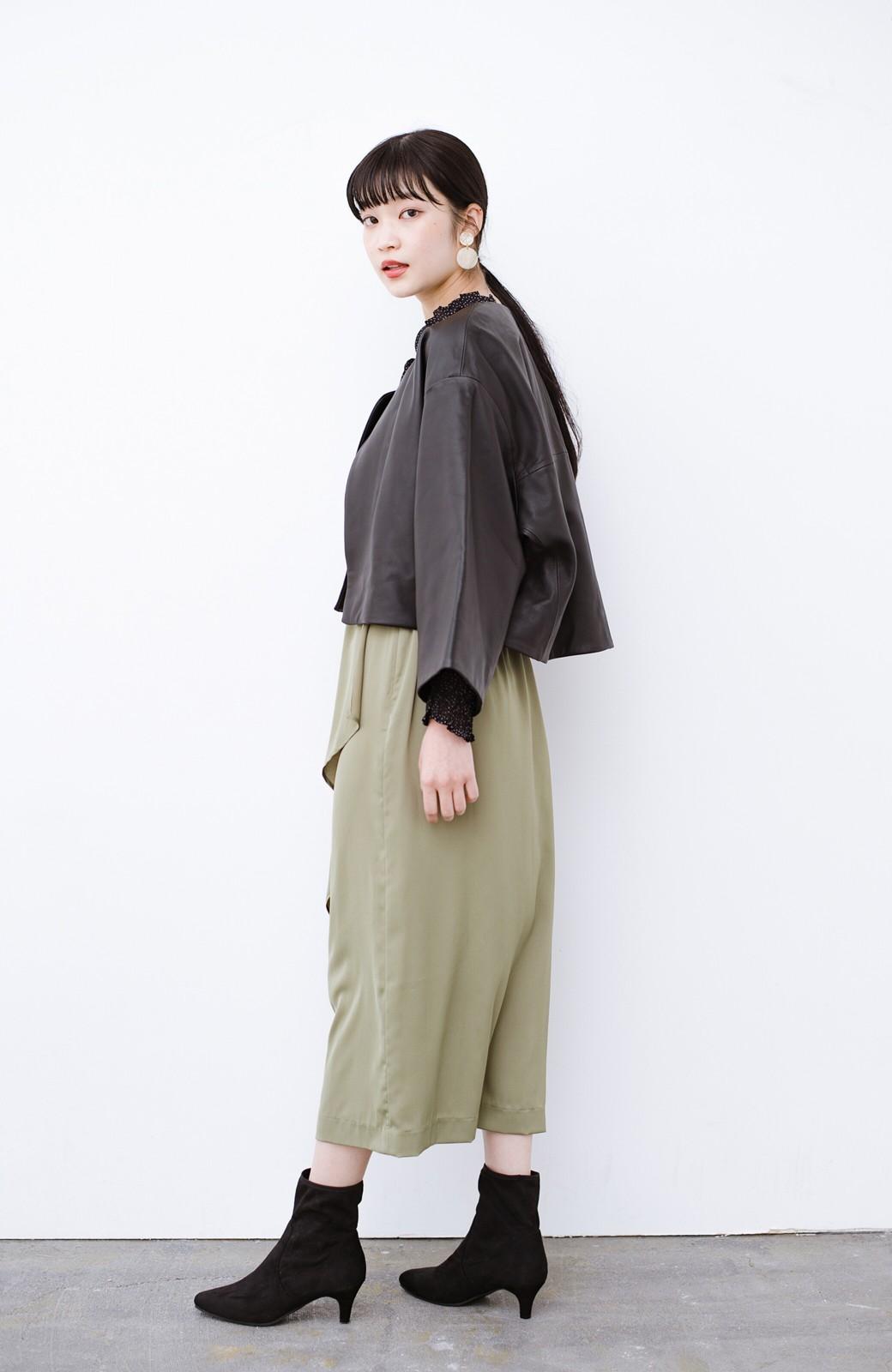 haco! BOLSISTA パッと羽織って大人かっこいいノーカラーレザージャケット <ブラック>の商品写真9