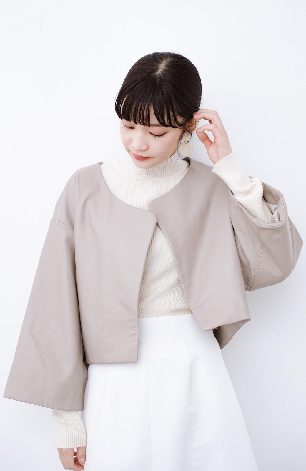 haco! BOLSISTA パッと羽織って大人かっこいいノーカラーレザージャケット <グレイッシュベージュ>の商品写真2