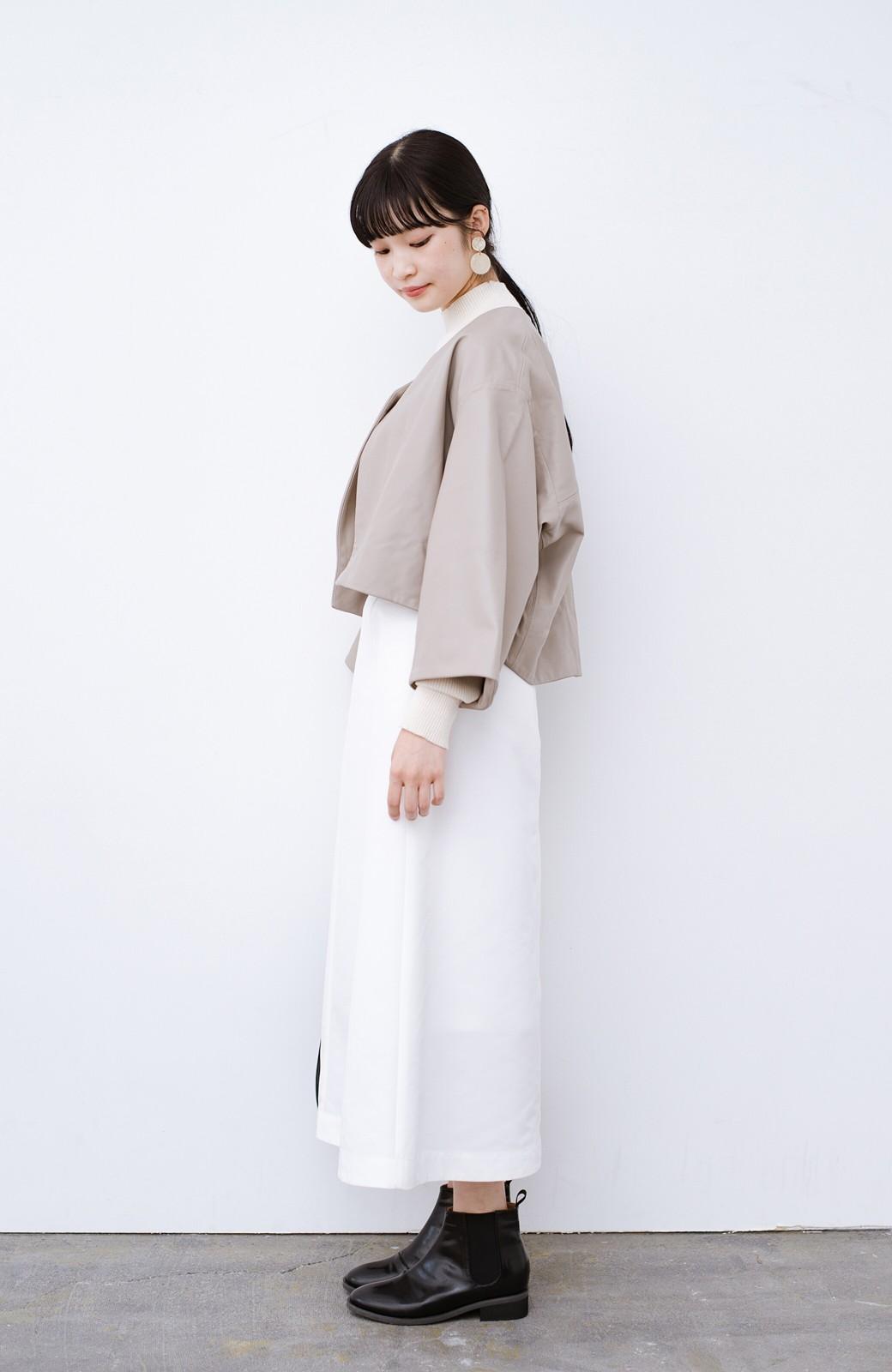haco! BOLSISTA パッと羽織って大人かっこいいノーカラーレザージャケット <グレイッシュベージュ>の商品写真8