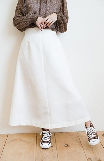 haco! 大人の七難隠してくれそうなきれいシルエットのフレアースカート by que made me <ホワイト>の商品写真