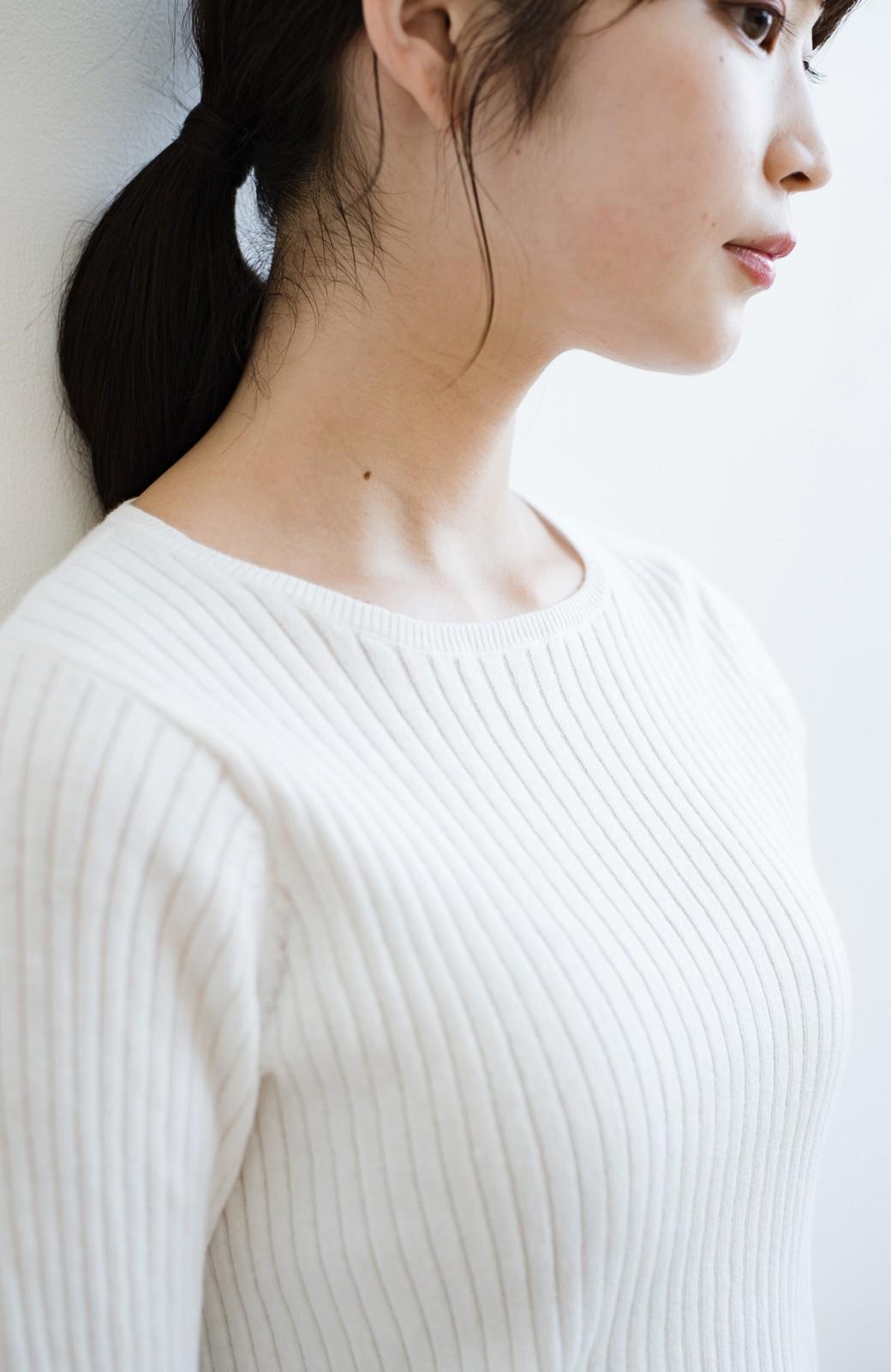 haco! 毎日着たくなる!シンプルなのに女っぽい コットン&カシミヤ混素材の大人リブニットby que made me <ホワイト>の商品写真3