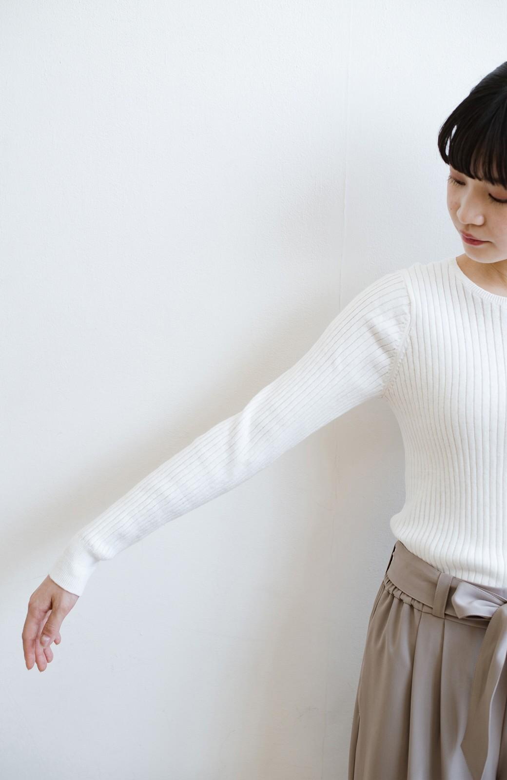 haco! 毎日着たくなる!シンプルなのに女っぽい コットン&カシミヤ混素材の大人リブニットby que made me <ホワイト>の商品写真13