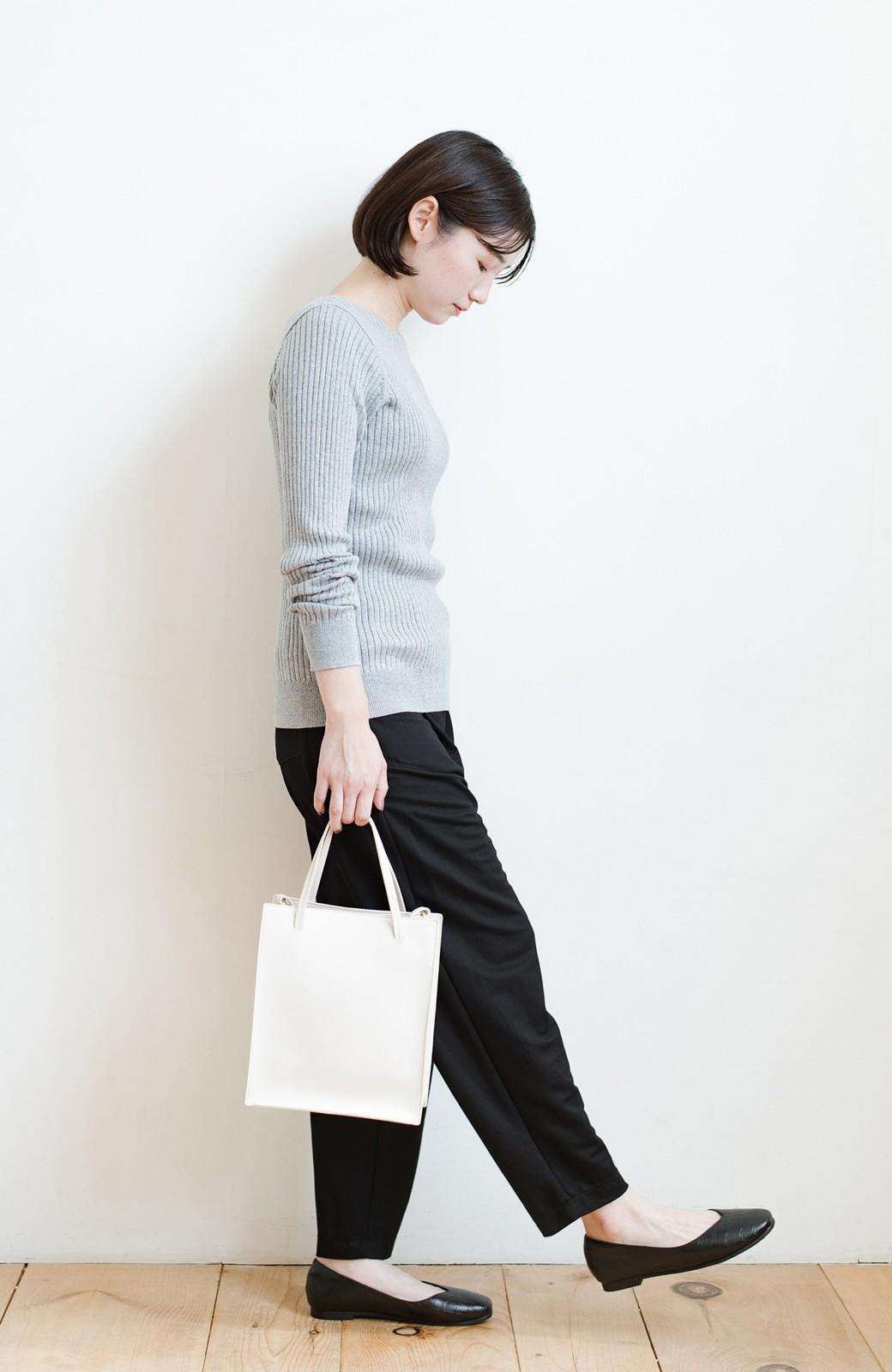 haco! 毎日着たくなる!シンプルなのに女っぽい コットン&カシミヤ混素材の大人リブニットby que made me <杢グレー>の商品写真10