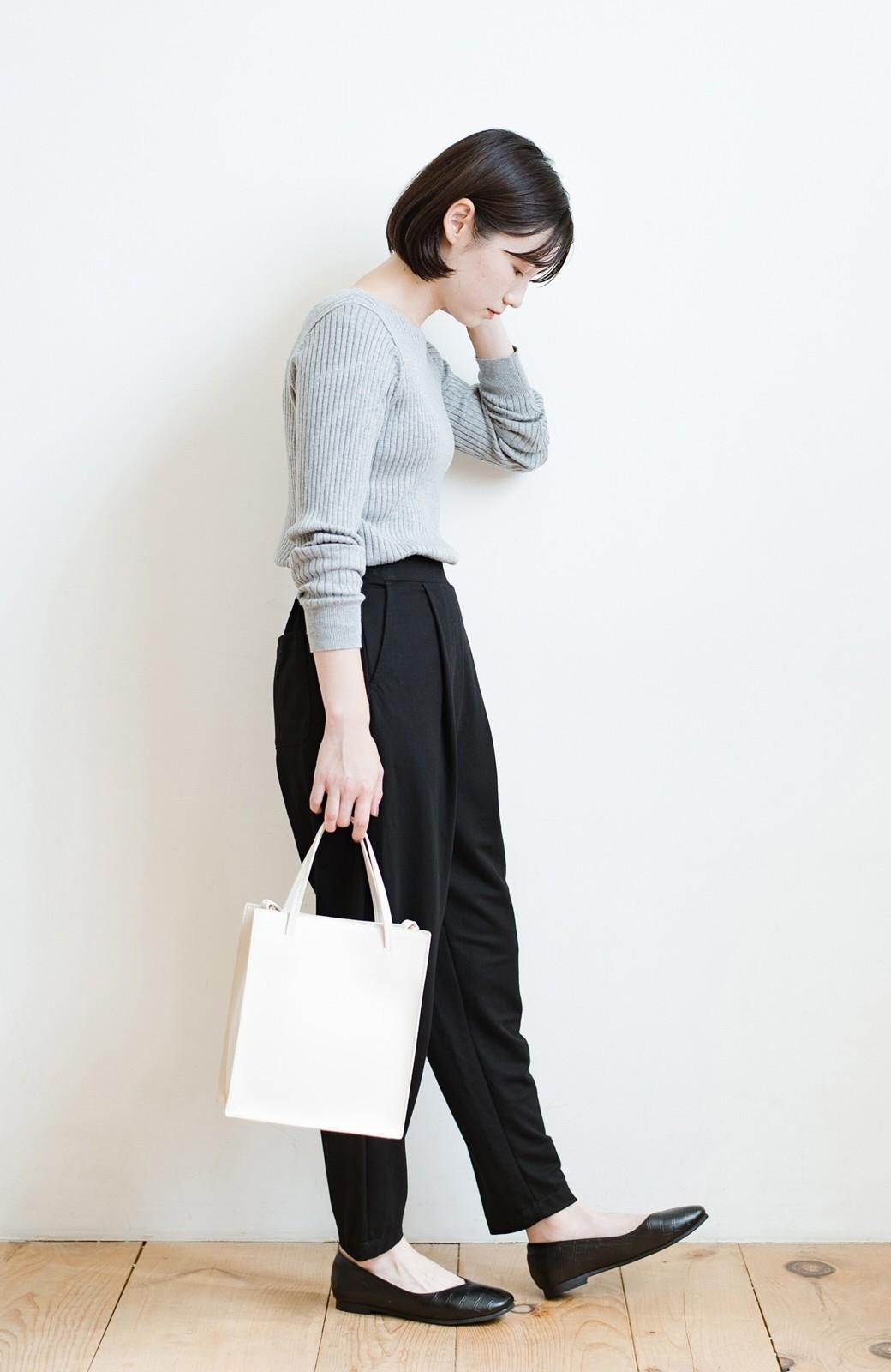 haco! 毎日着たくなる!シンプルなのに女っぽい コットン&カシミヤ混素材の大人リブニットby que made me <杢グレー>の商品写真11