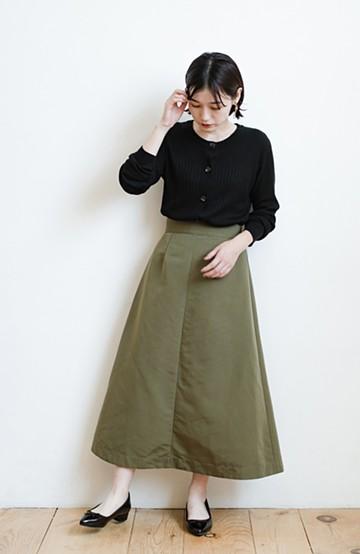 haco! 大人の七難隠してくれそうなきれいシルエットのフレアースカート by que made me <カーキ>の商品写真