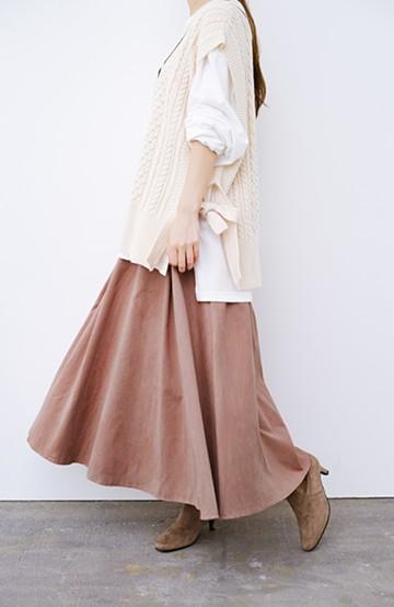 haco! オフィスにもデートにも!美シルエットのフェイクスエードフレアースカート <ピンク>の商品写真