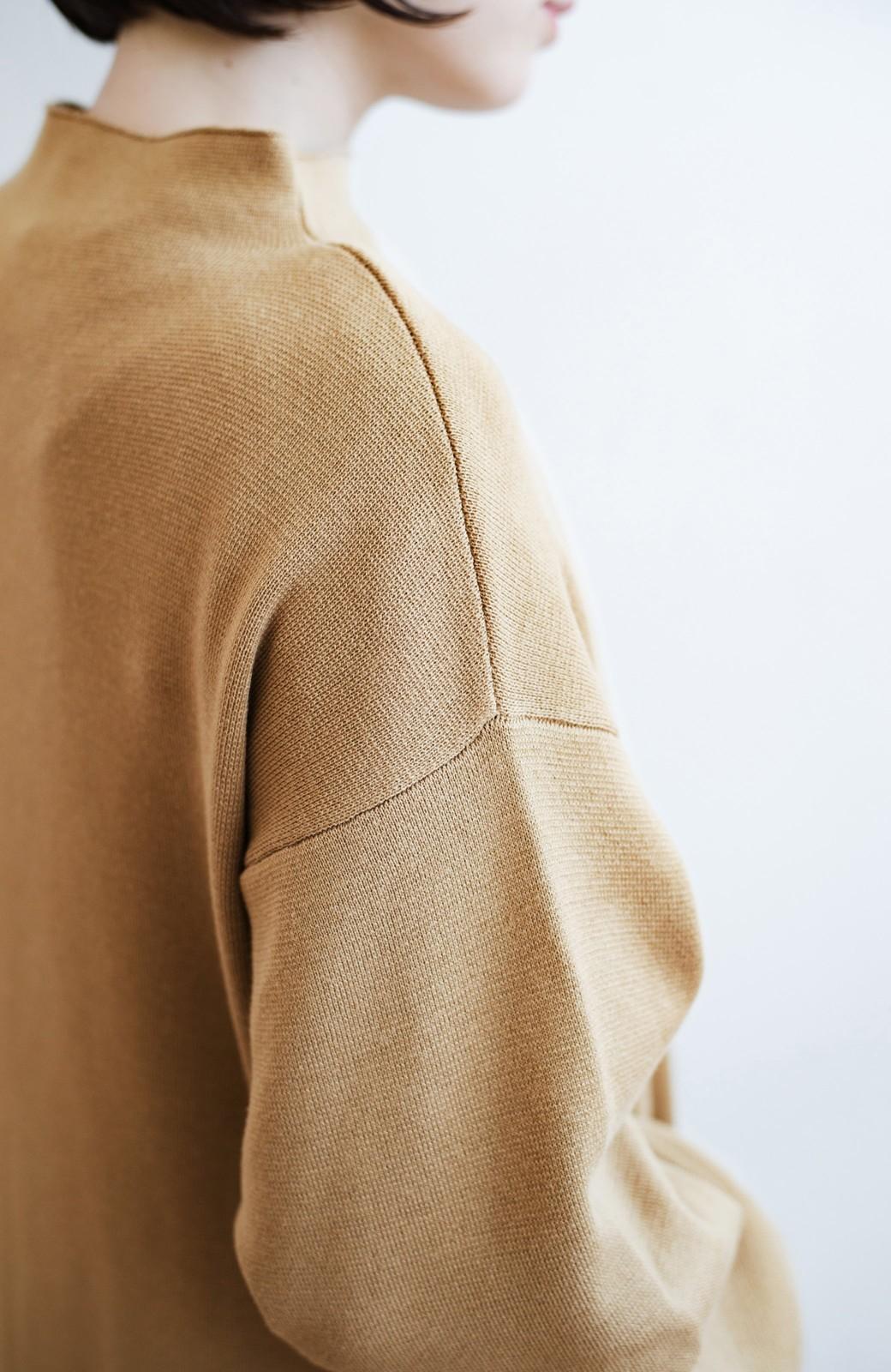 haco! お仕事にもカジュアルな重ね着にも使えて便利なミラノリブニットワンピース  <ベージュ>の商品写真5