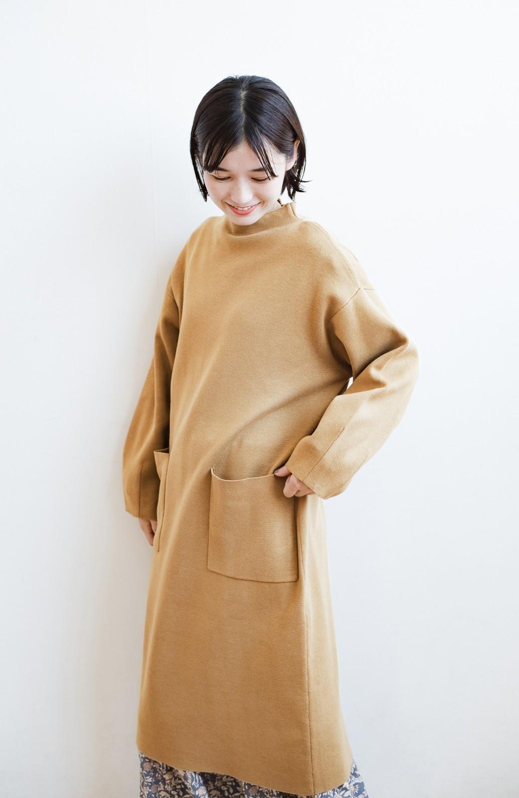 haco! お仕事にもカジュアルな重ね着にも使えて便利なミラノリブニットワンピース  <ベージュ>の商品写真14