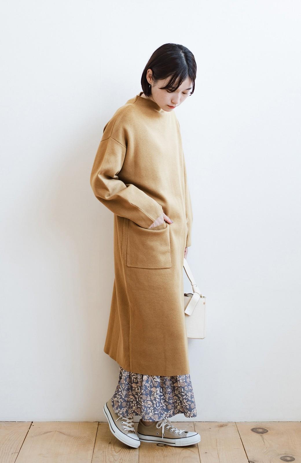 haco! お仕事にもカジュアルな重ね着にも使えて便利なミラノリブニットワンピース  <ベージュ>の商品写真12