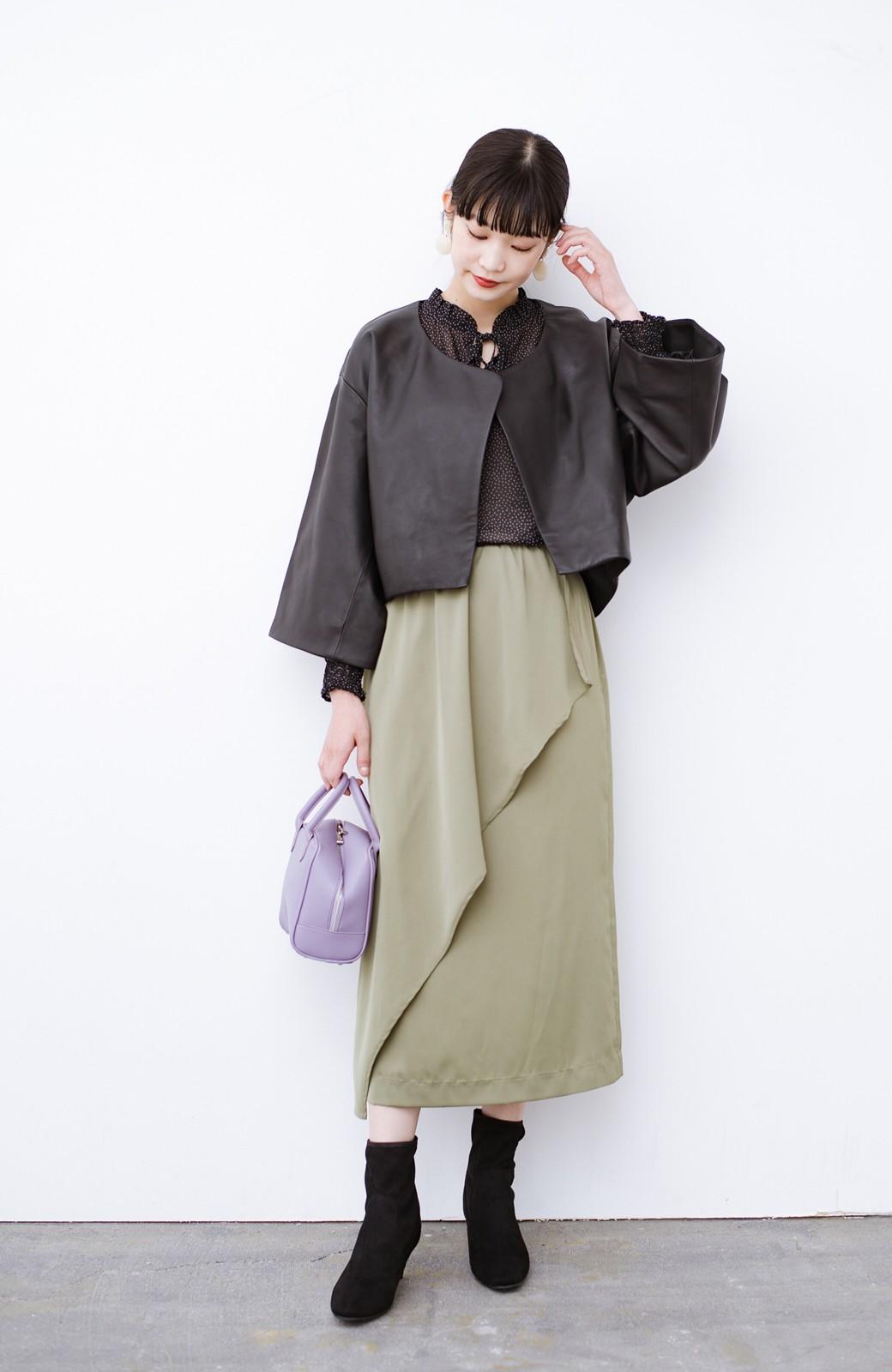 haco! デニムにもスカートにも似合う!すぽっと履けてスタイルアップが叶う女っぽフェイクスエードブーツ <ブラック>の商品写真16