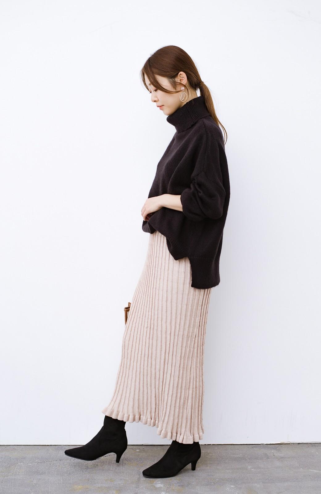 haco! デニムにもスカートにも似合う!すぽっと履けてスタイルアップが叶う女っぽフェイクスエードブーツ <ブラック>の商品写真21