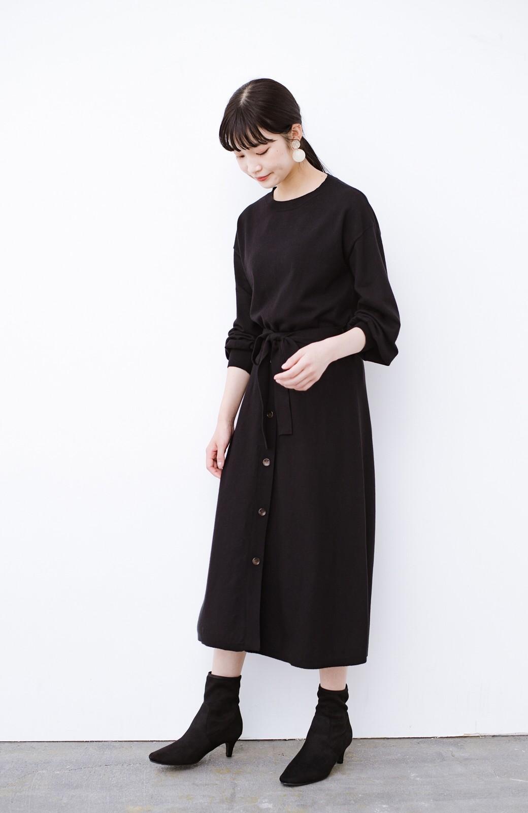 haco! デニムにもスカートにも似合う!すぽっと履けてスタイルアップが叶う女っぽフェイクスエードブーツ <ブラック>の商品写真22