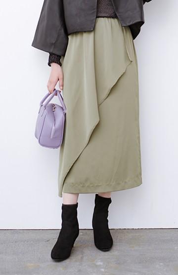 haco! お仕事にも普段にも女っぽくいたいときにお役立ち 落ち感がきれいなラップデザイン風スカート <ライトカーキ>の商品写真