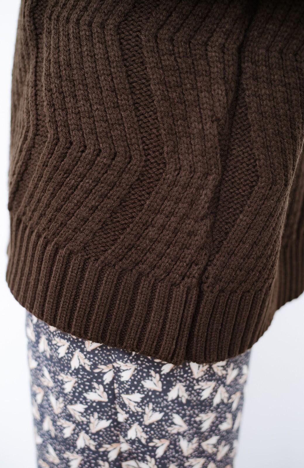 haco! パッと着て、さっと決まる!ざっくり感が今っぽかわいいジグザグ柄ニット <ブラウン>の商品写真6