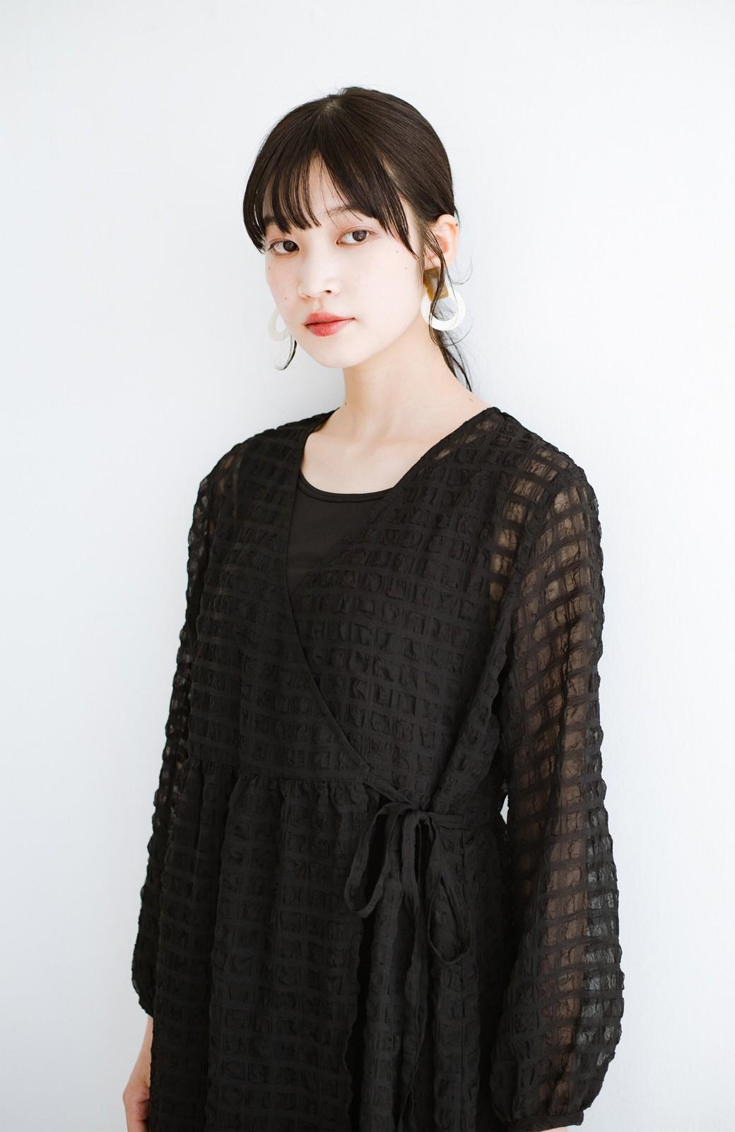 haco! 羽織としても便利!シアー素材で女っぽかわいいカシュクールワンピース&インナーセット <ブラック>の商品写真3