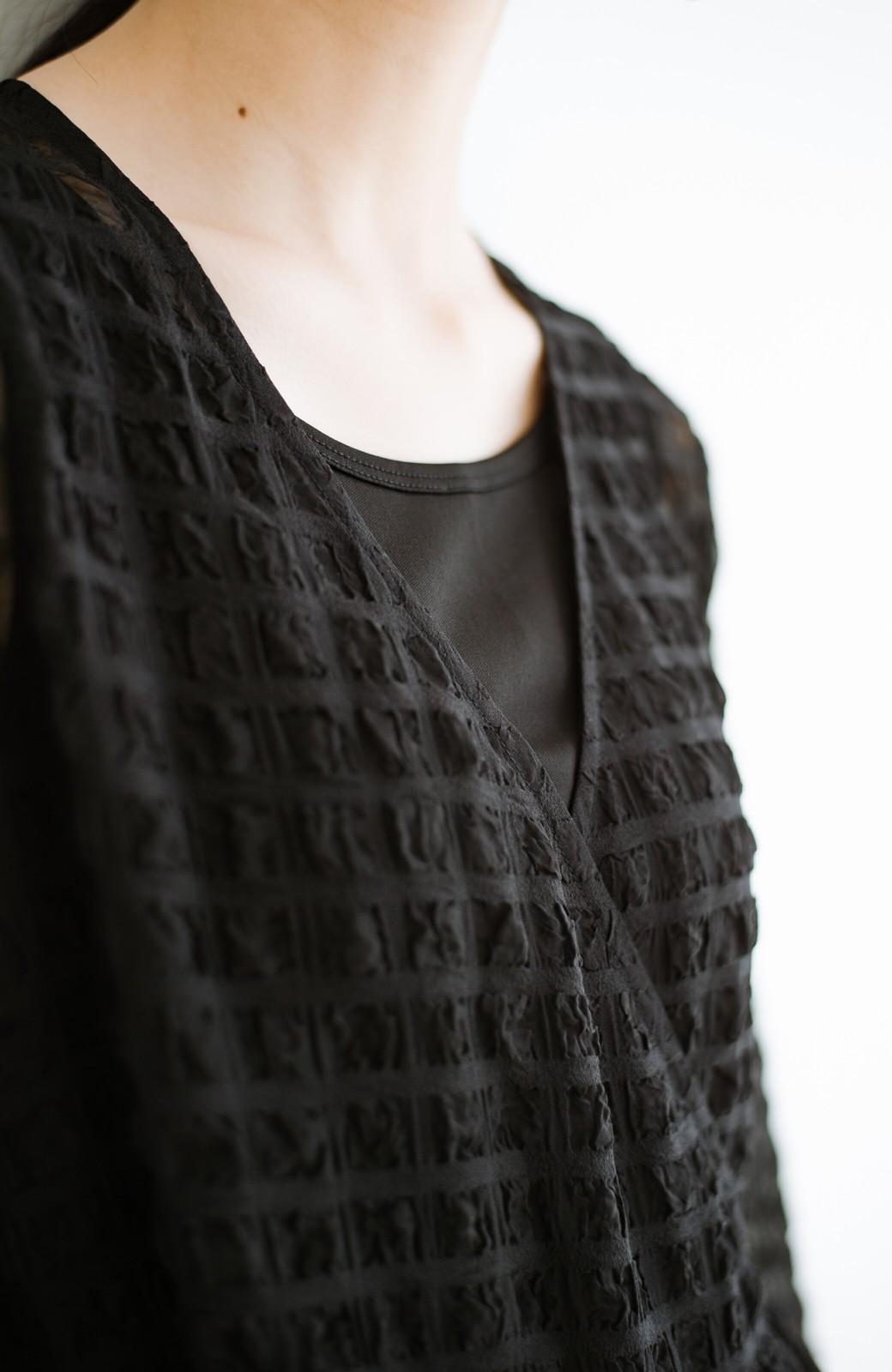 haco! 羽織としても便利!シアー素材で女っぽかわいいカシュクールワンピース&インナーセット <ブラック>の商品写真5