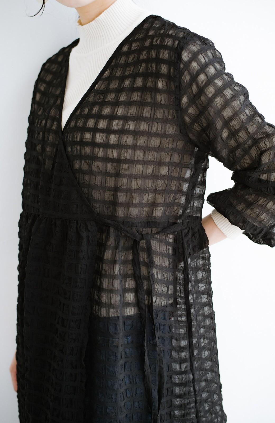 haco! 羽織としても便利!シアー素材で女っぽかわいいカシュクールワンピース&インナーセット <ブラック>の商品写真6