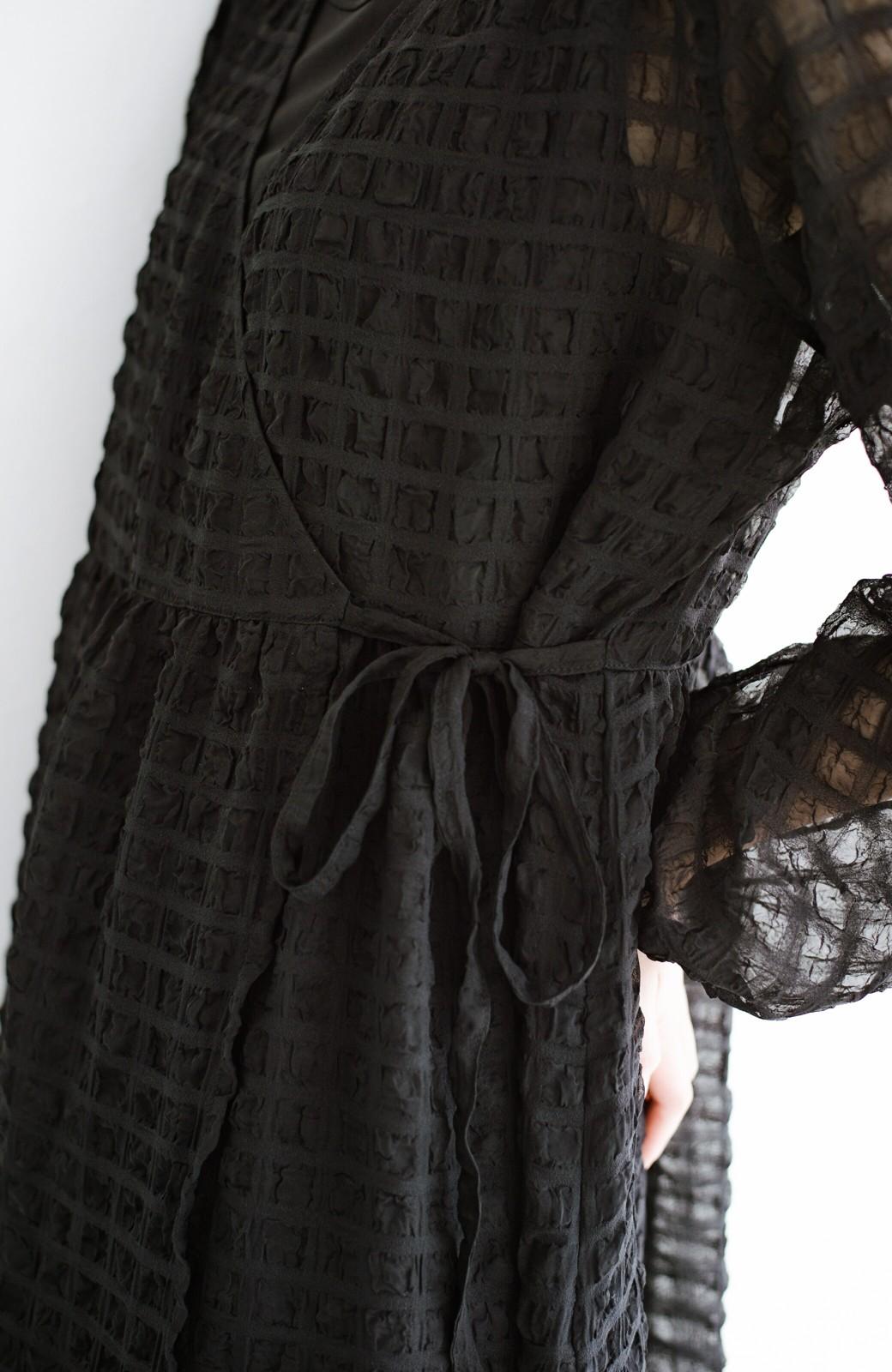 haco! 羽織としても便利!シアー素材で女っぽかわいいカシュクールワンピース&インナーセット <ブラック>の商品写真8