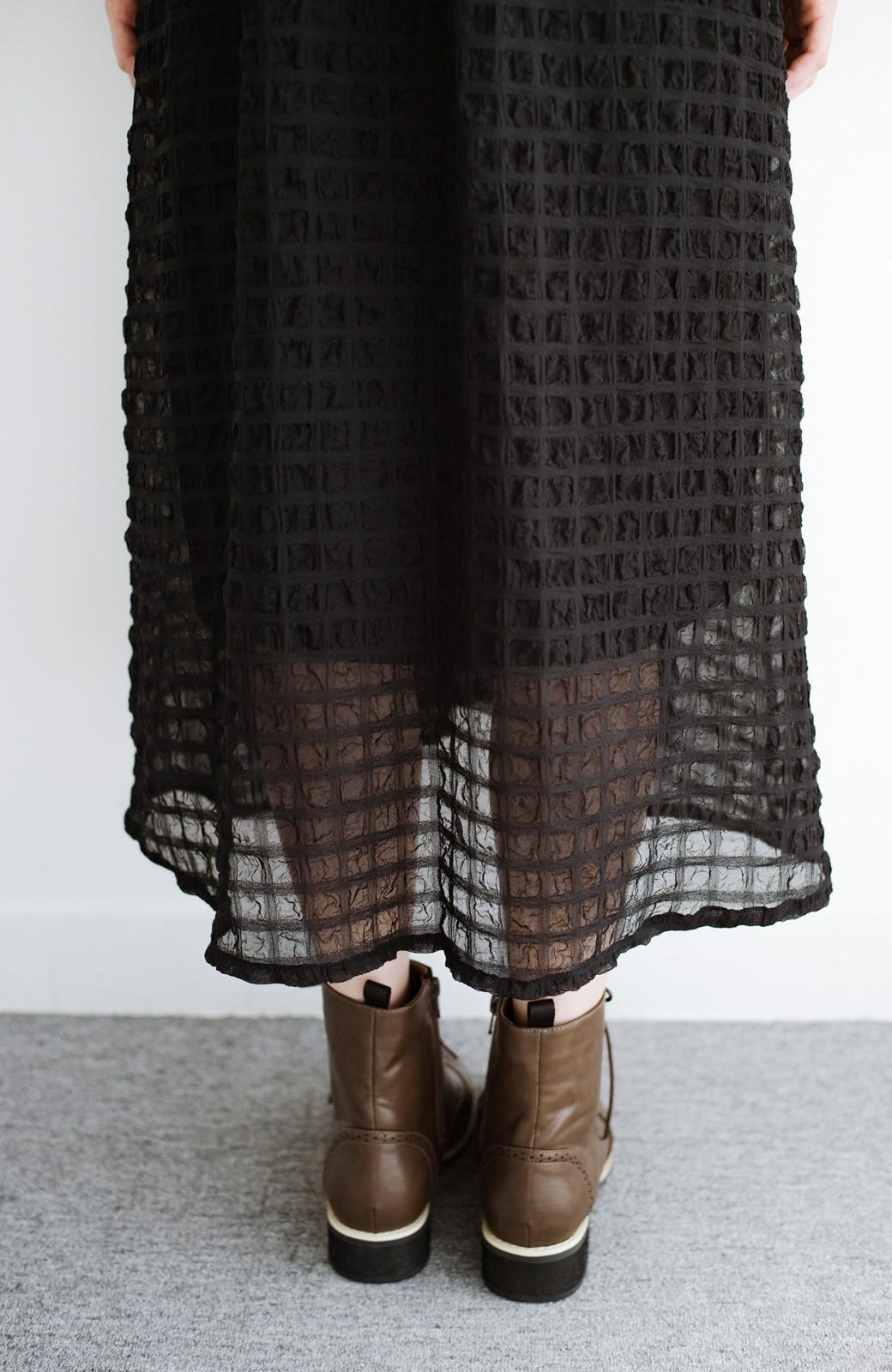 haco! 羽織としても便利!シアー素材で女っぽかわいいカシュクールワンピース&インナーセット <ブラック>の商品写真10