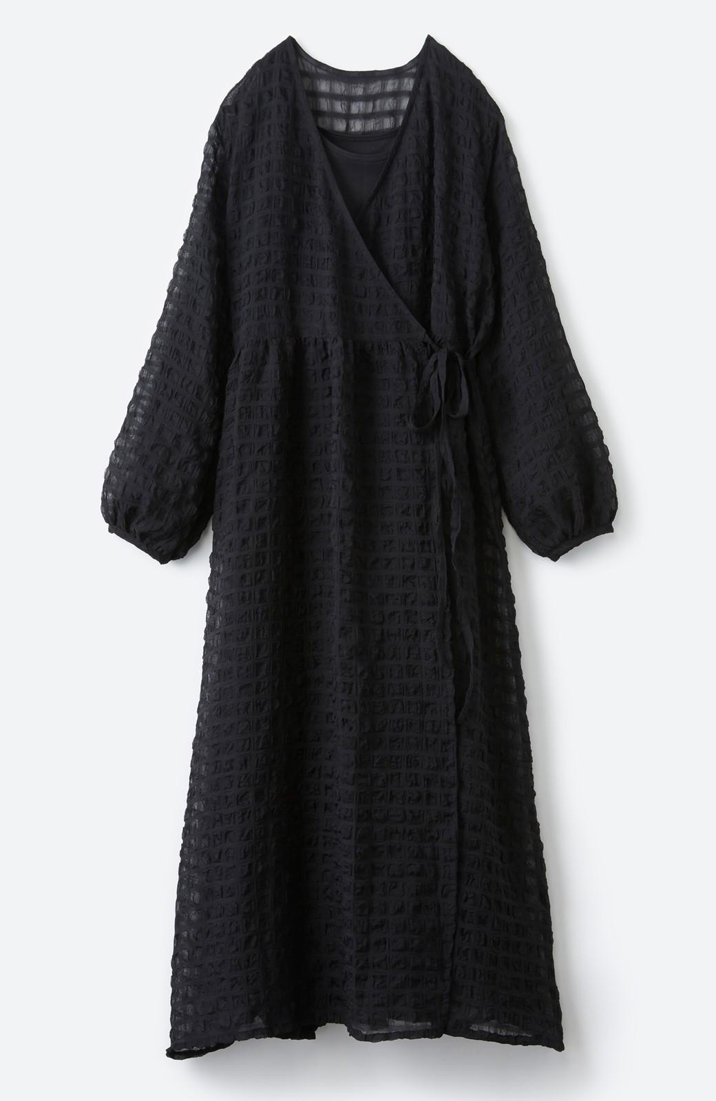 haco! 羽織としても便利!シアー素材で女っぽかわいいカシュクールワンピース&インナーセット <ブラック>の商品写真2