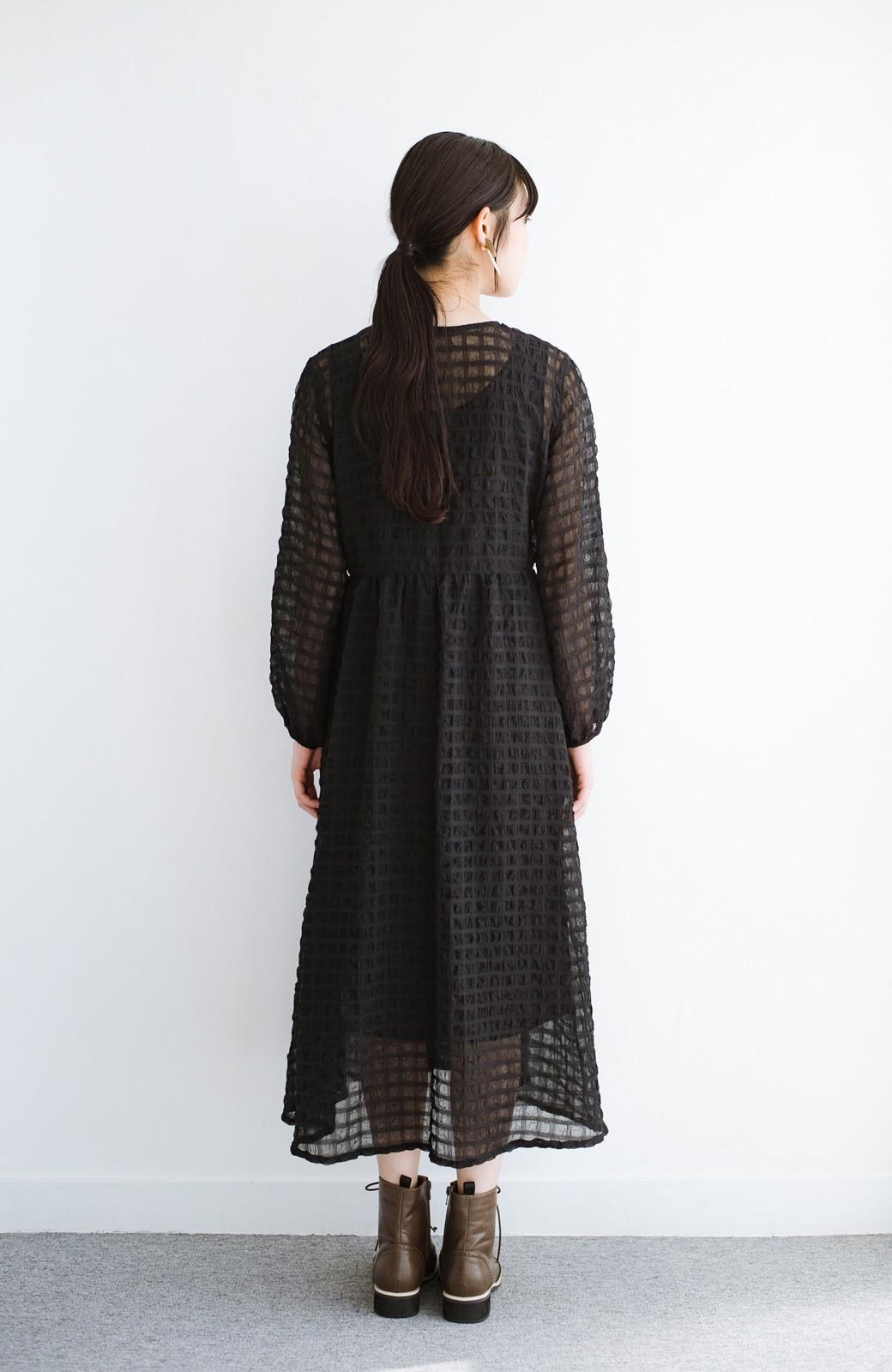 haco! 羽織としても便利!シアー素材で女っぽかわいいカシュクールワンピース&インナーセット <ブラック>の商品写真21