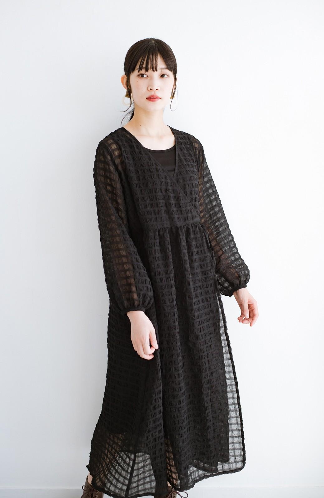 haco! 羽織としても便利!シアー素材で女っぽかわいいカシュクールワンピース&インナーセット <ブラック>の商品写真22