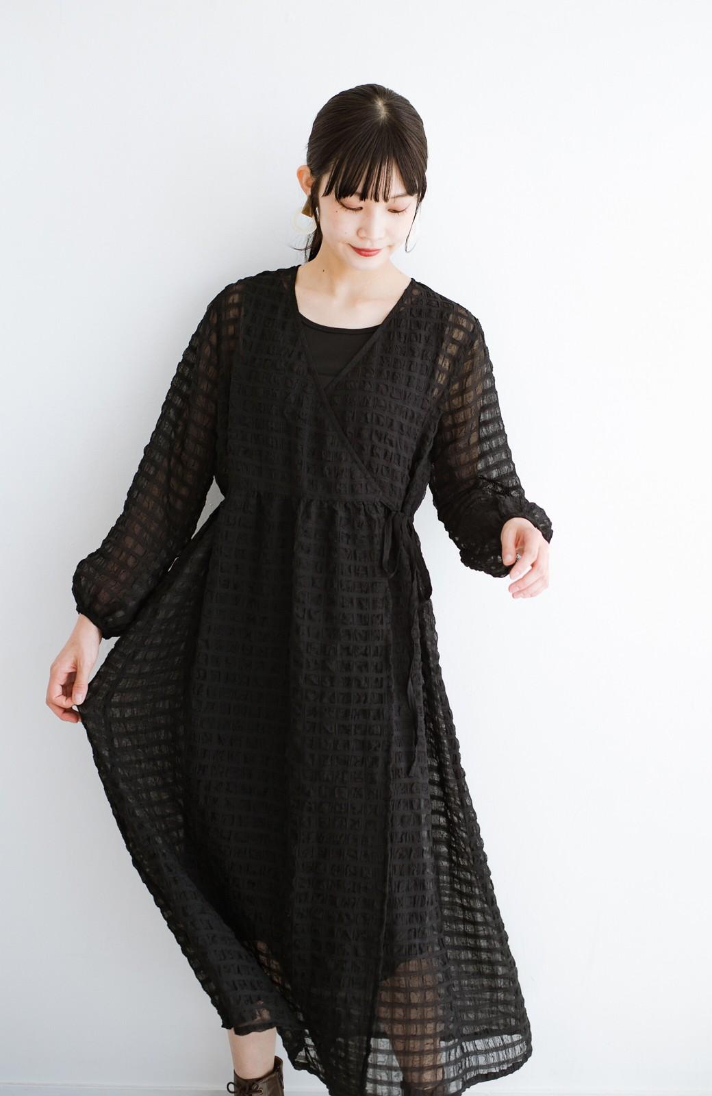 haco! 羽織としても便利!シアー素材で女っぽかわいいカシュクールワンピース&インナーセット <ブラック>の商品写真23