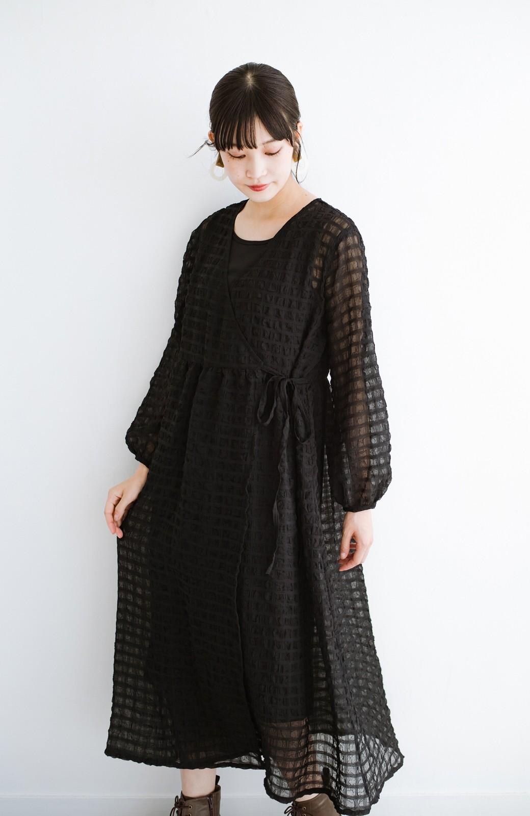 haco! 羽織としても便利!シアー素材で女っぽかわいいカシュクールワンピース&インナーセット <ブラック>の商品写真24