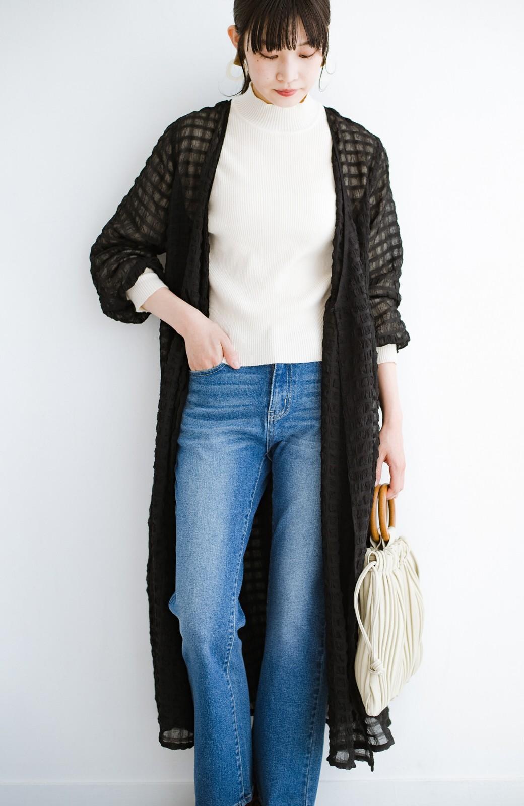 haco! 羽織としても便利!シアー素材で女っぽかわいいカシュクールワンピース&インナーセット <ブラック>の商品写真25
