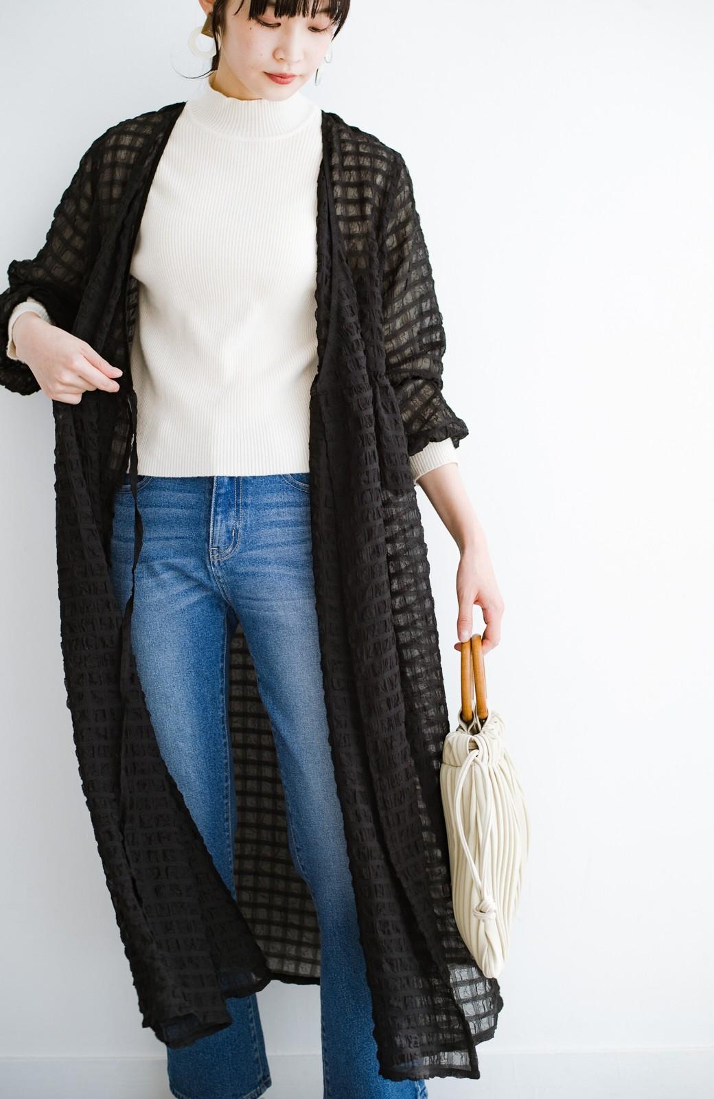 haco! 羽織としても便利!シアー素材で女っぽかわいいカシュクールワンピース&インナーセット <ブラック>の商品写真12