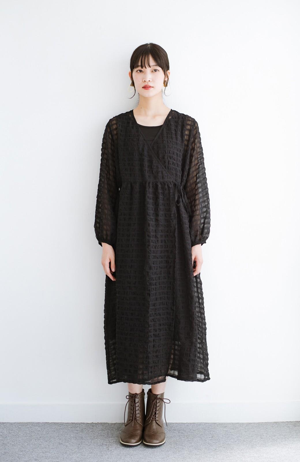 haco! 羽織としても便利!シアー素材で女っぽかわいいカシュクールワンピース&インナーセット <ブラック>の商品写真11